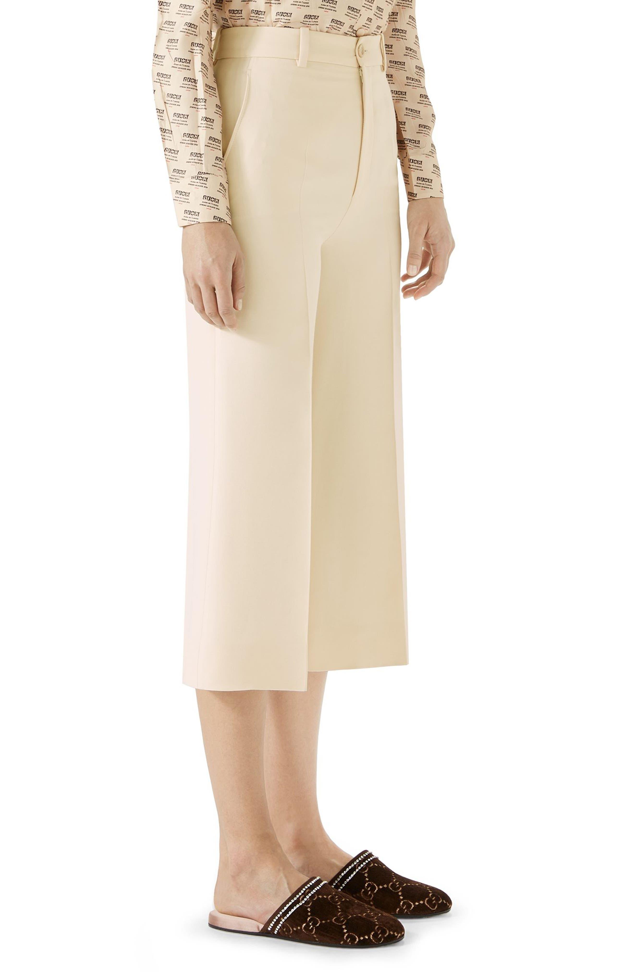 Wool & Silk Cady Wide Leg Crop Pants,                             Alternate thumbnail 3, color,                             GARDENIA