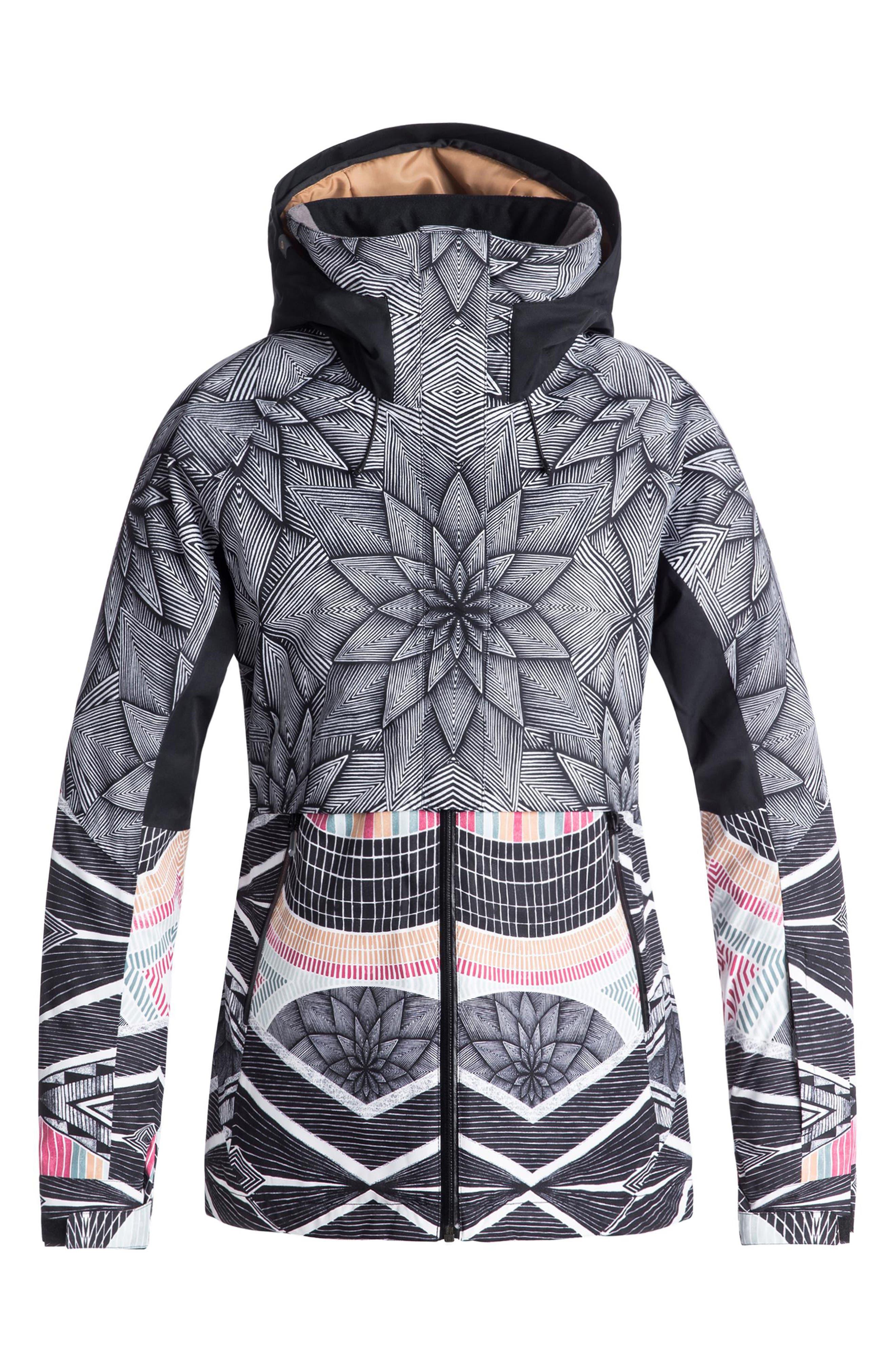 Frozen Flow Hooded Ski Jacket,                         Main,                         color, TRUE BLACK/ POP SNOW STARS