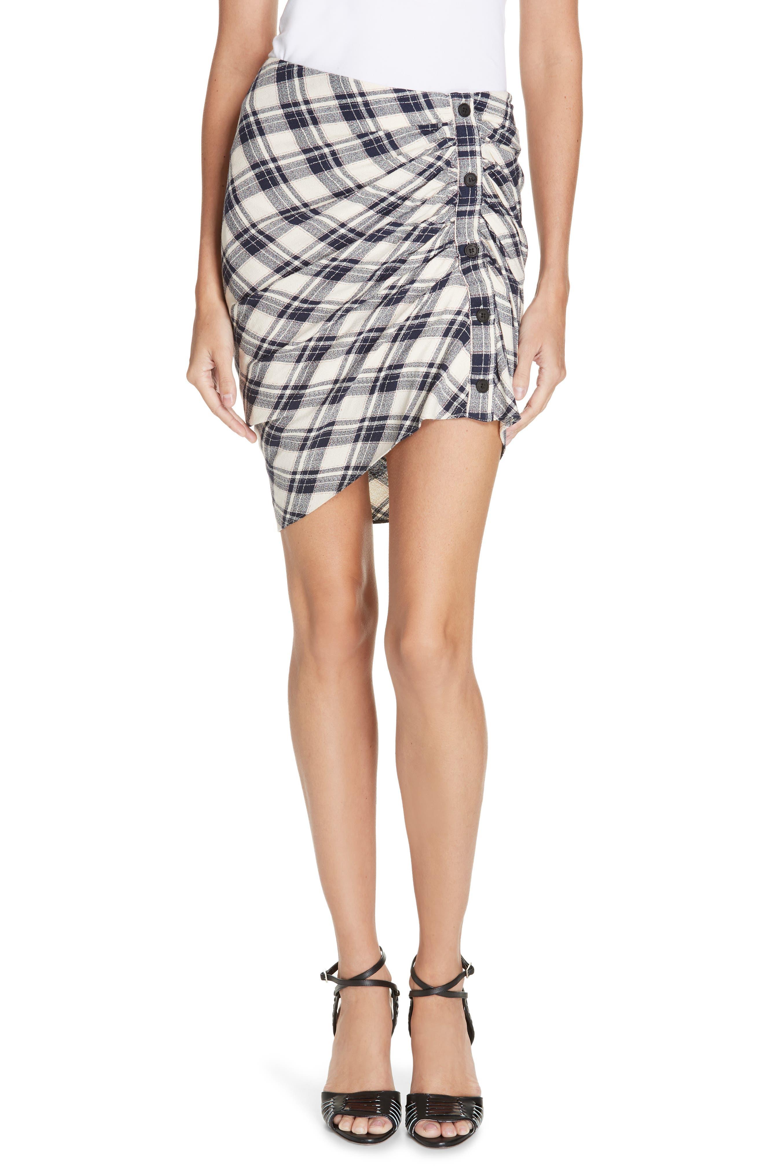 Murphy Ruched Miniskirt,                         Main,                         color, NAVY/ ECRU