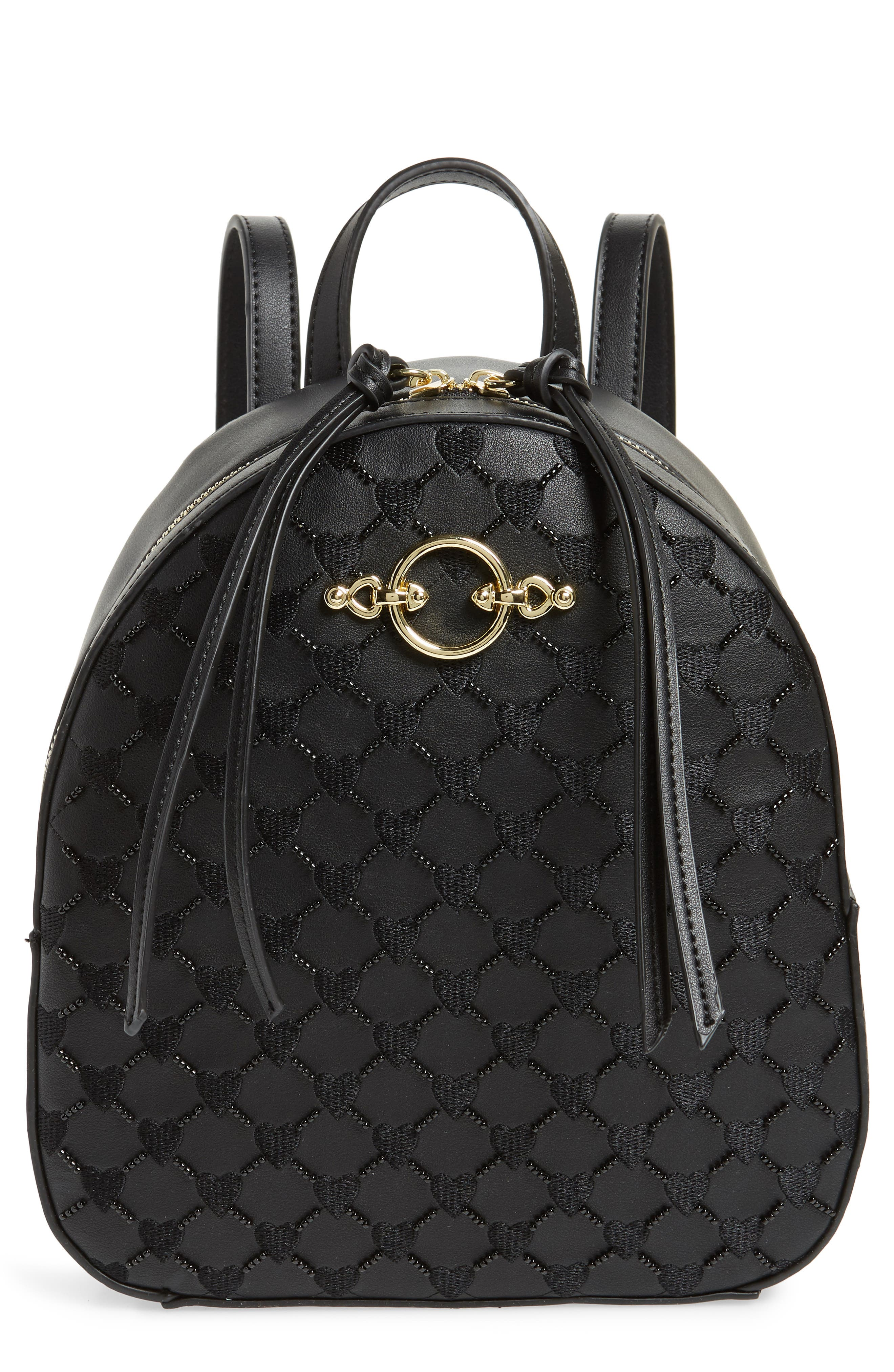 TOPSHOP Sweetheart Beaded Backpack, Main, color, 001