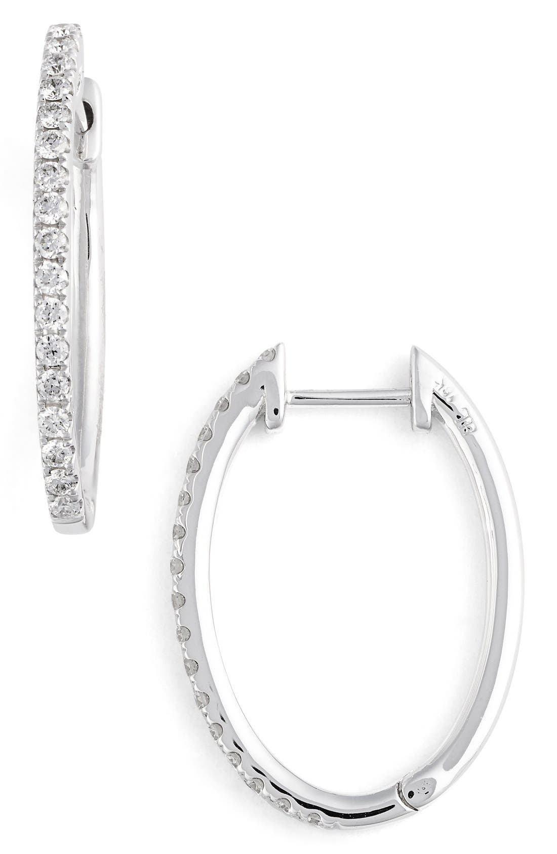 Oval Hoop Diamond Earrings,                             Main thumbnail 1, color,                             711