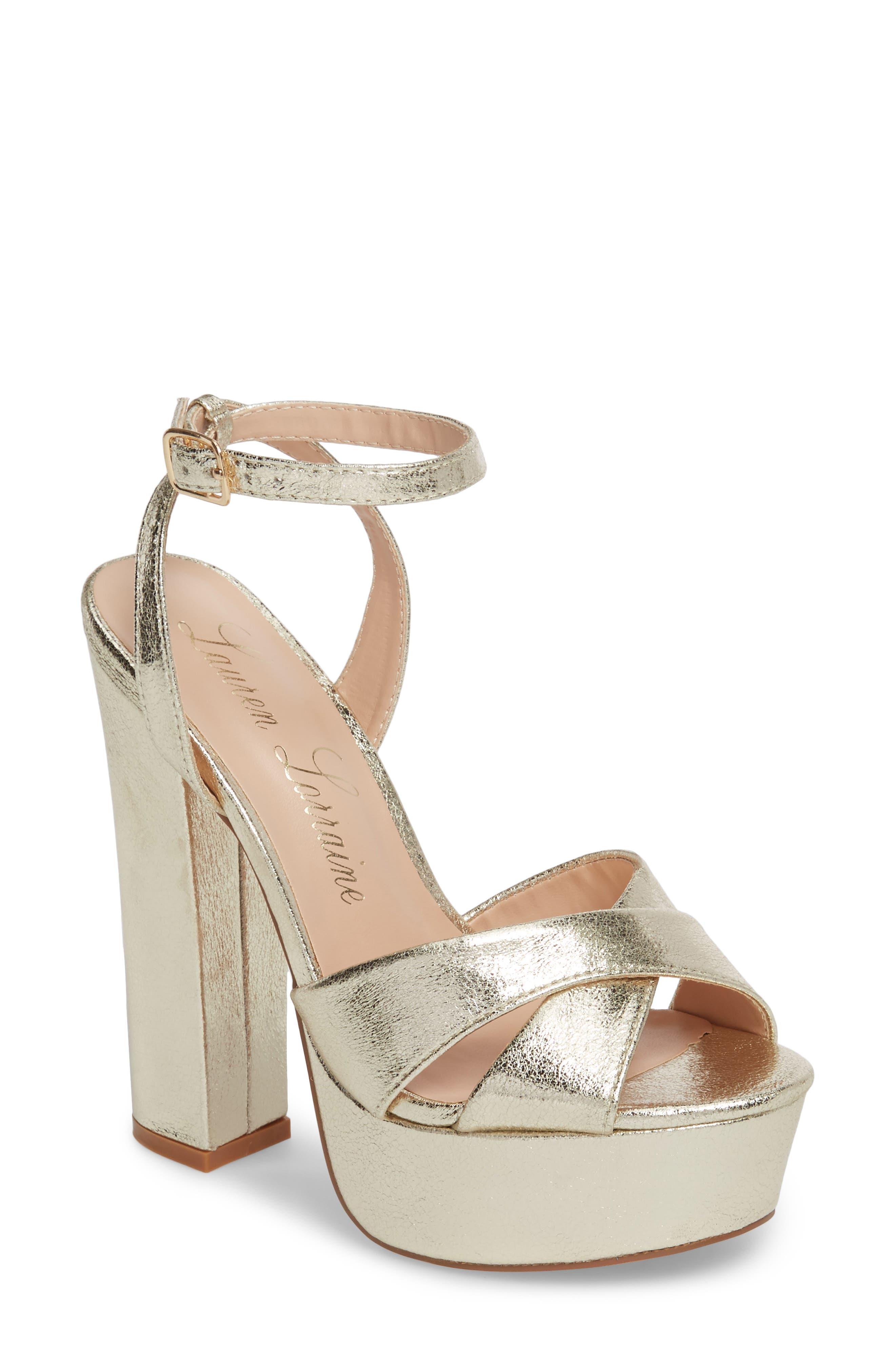 Lauren Lorraine Carla Platform Sandal, Metallic