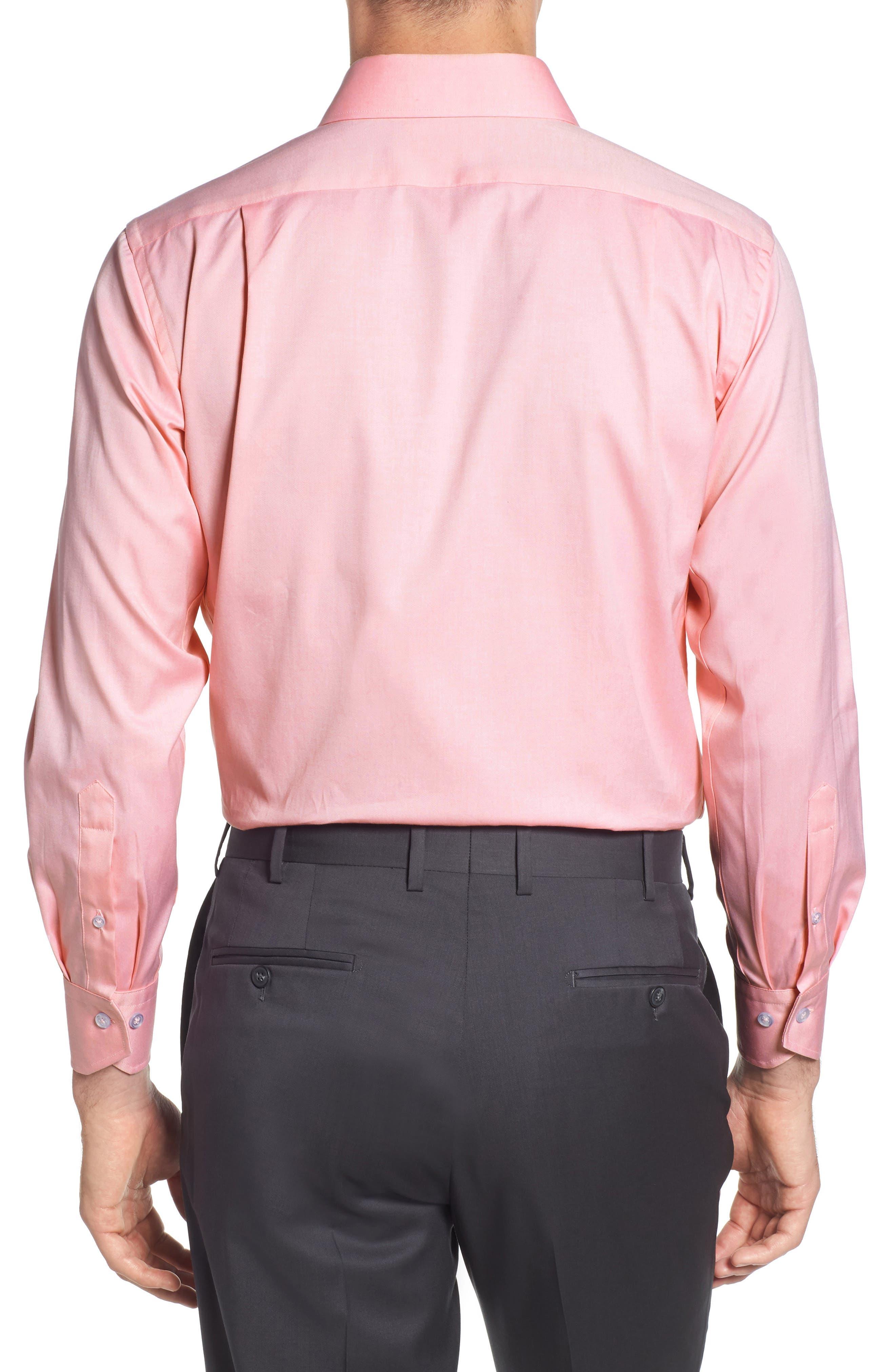 Trim Fit Solid Dress Shirt,                             Alternate thumbnail 3, color,                             PINK