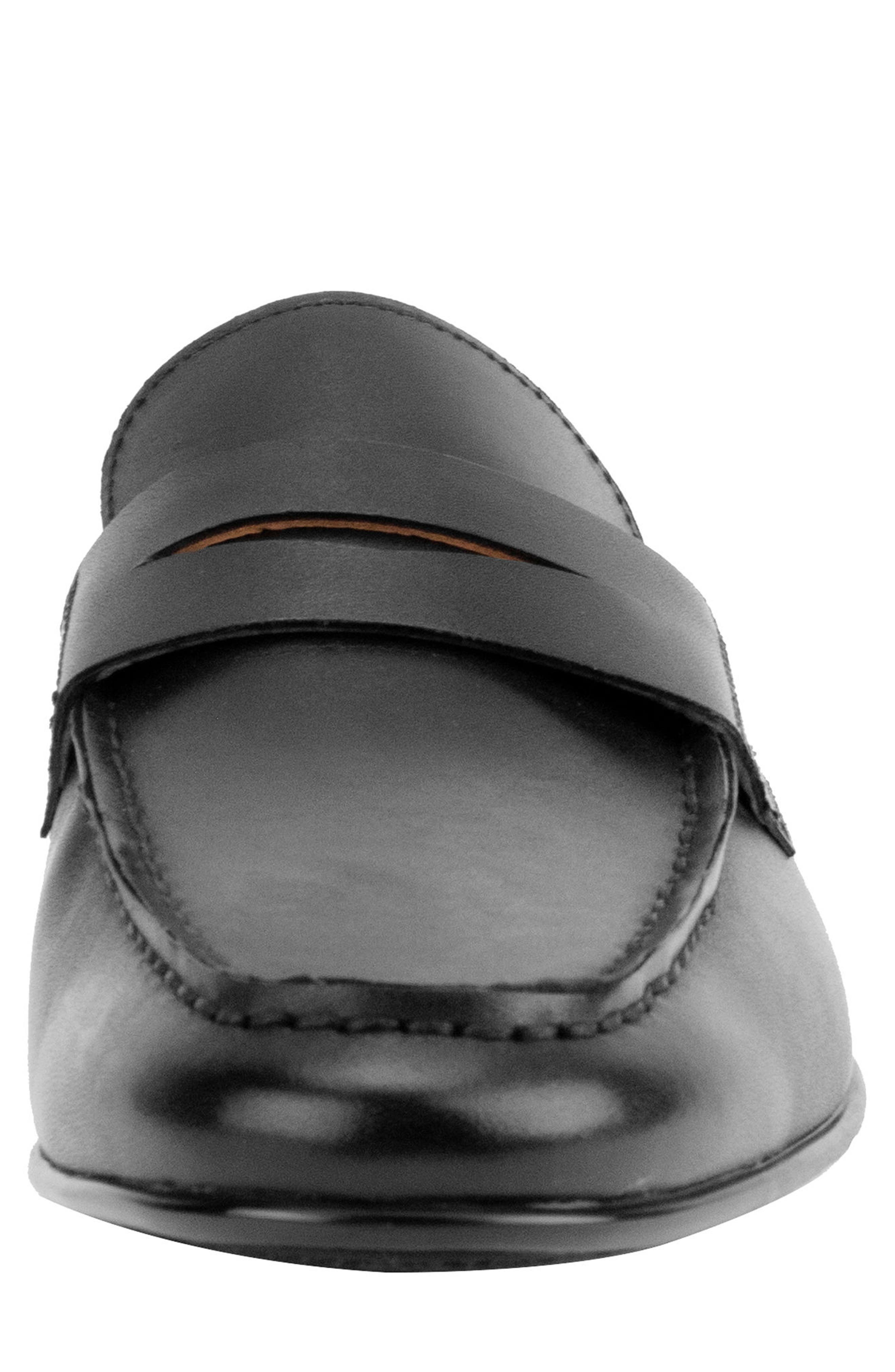 Connery Penny Loafer,                             Alternate thumbnail 4, color,                             BLACK LEATHER