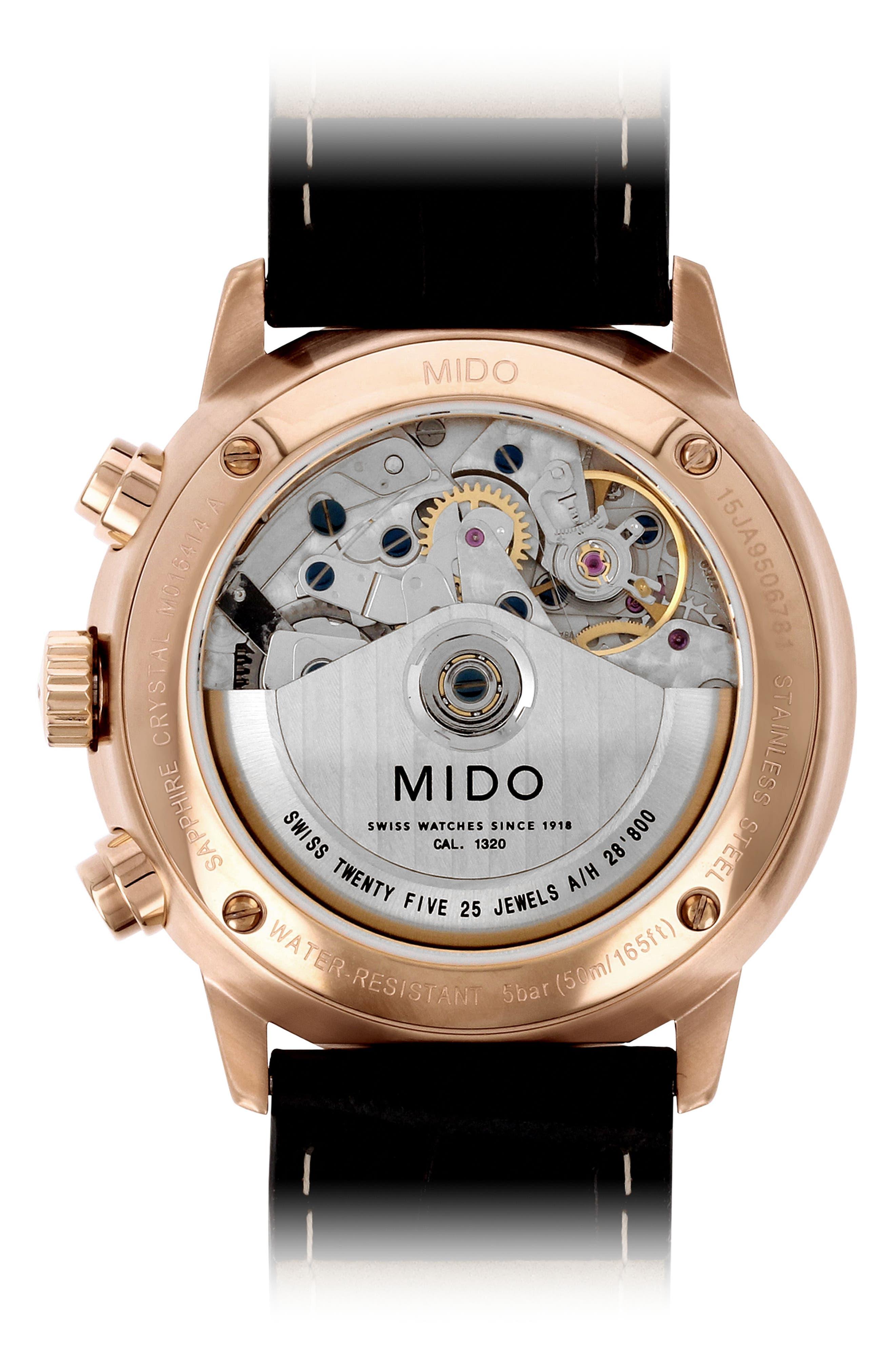 Commander Chronometer Leather Strap Watch, 42mm,                             Alternate thumbnail 2, color,                             BLACK/ SILVER/ ROSE GOLD