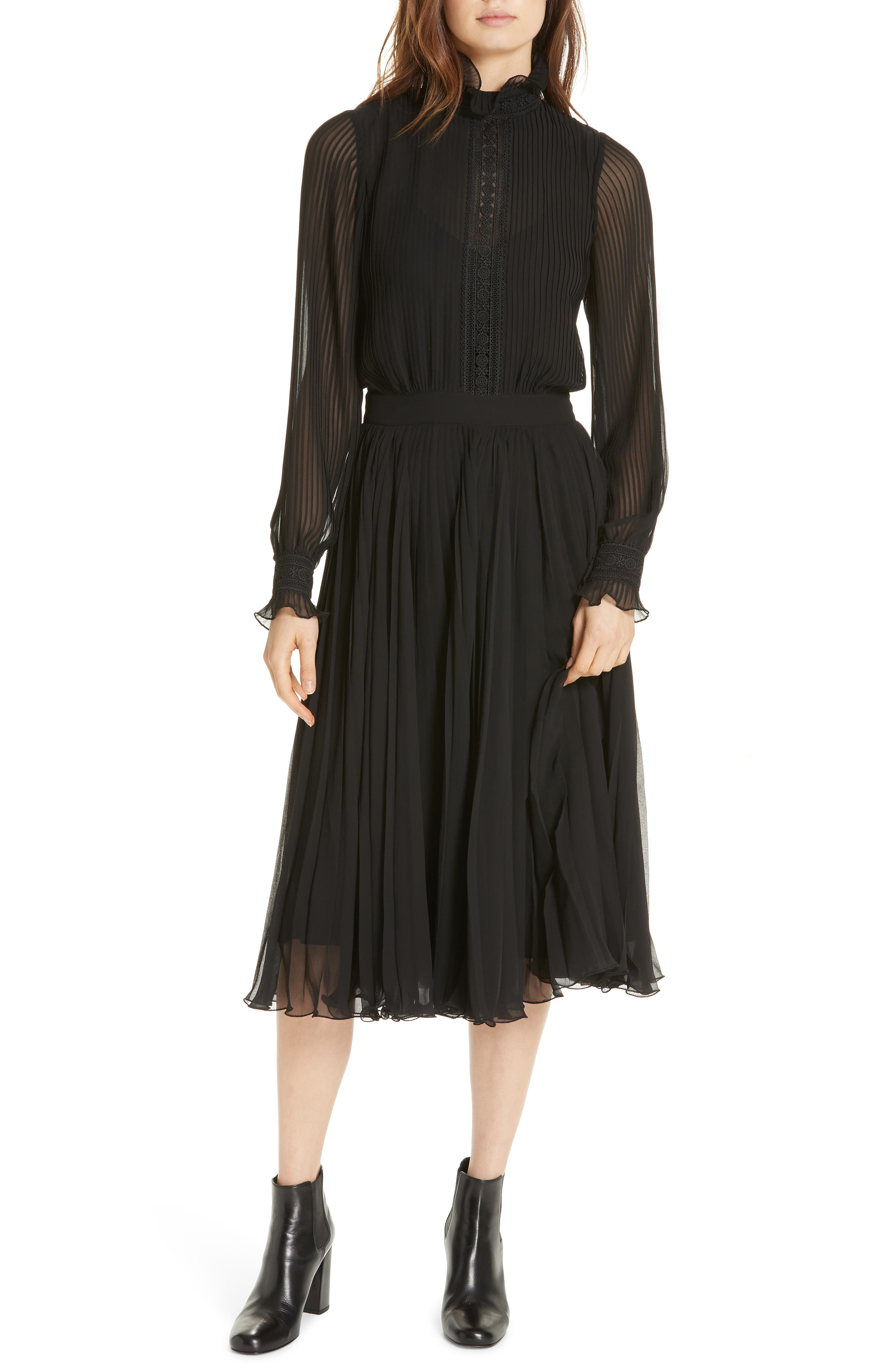 Anbele Midi Dress,                         Main,                         color, POLO BLACK