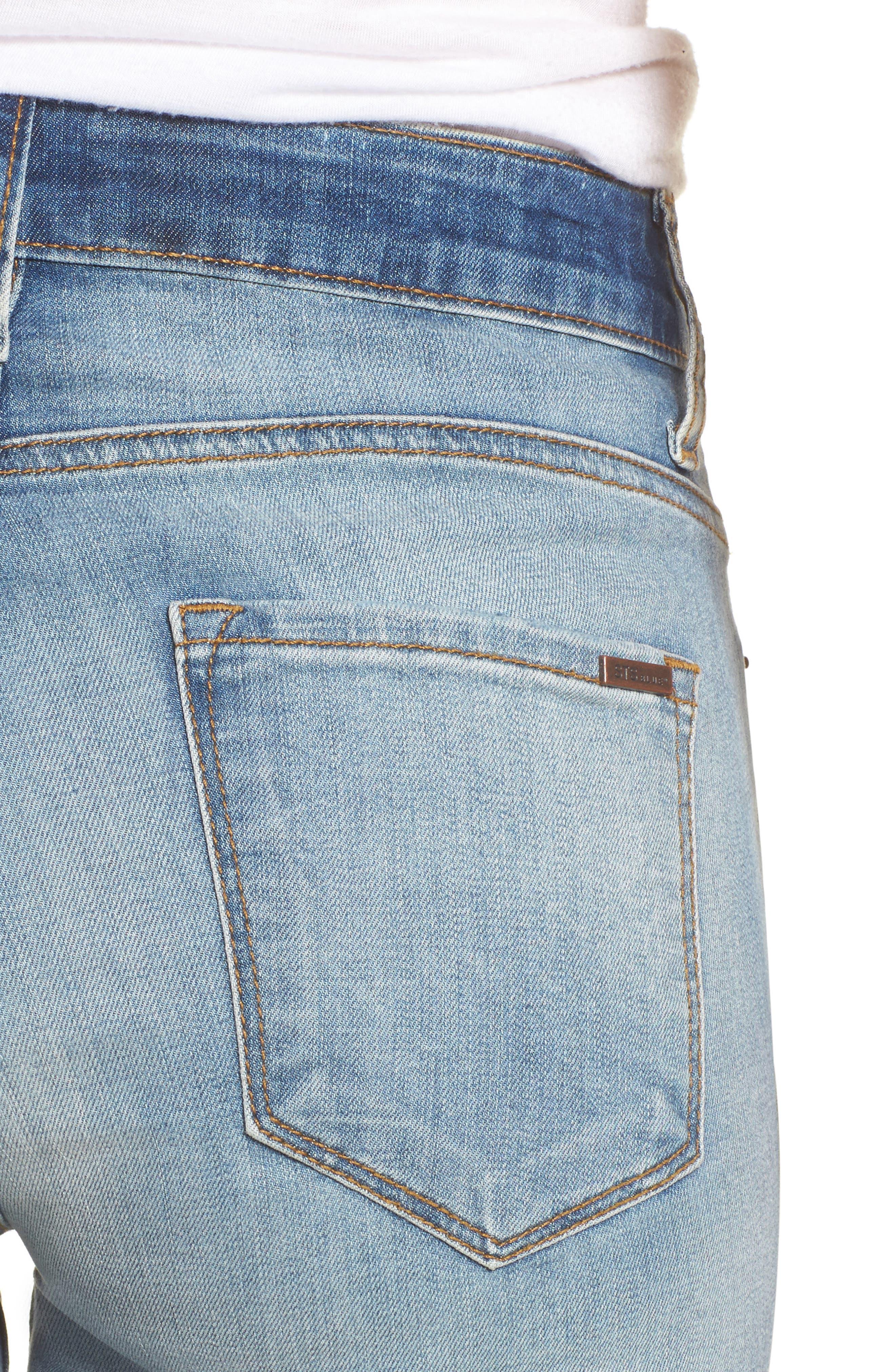Ellie Ripped High Waist Skinny Jeans,                             Alternate thumbnail 4, color,                             400