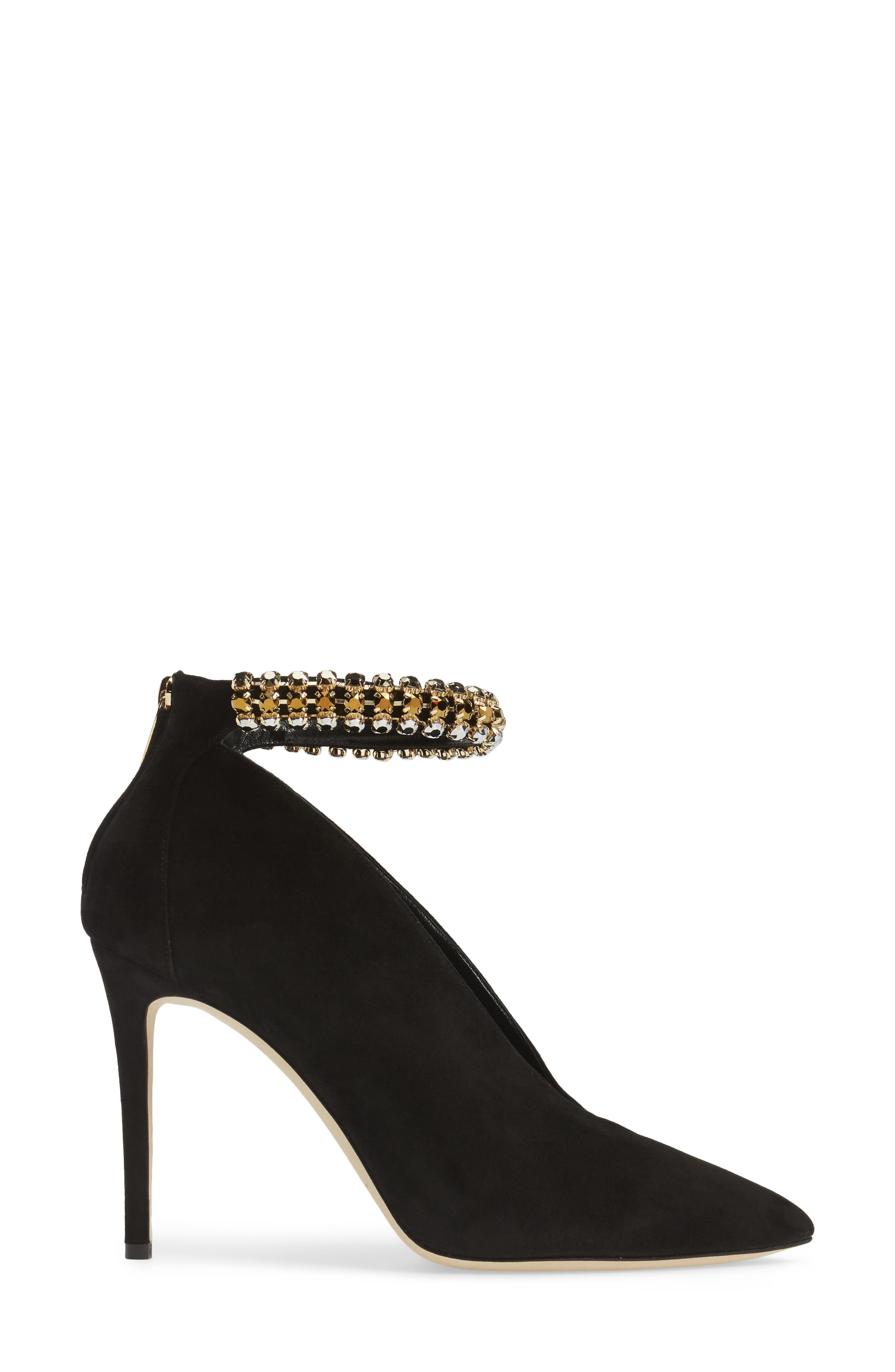 Lux Embellished Ankle Strap Bootie,                             Alternate thumbnail 3, color,                             001