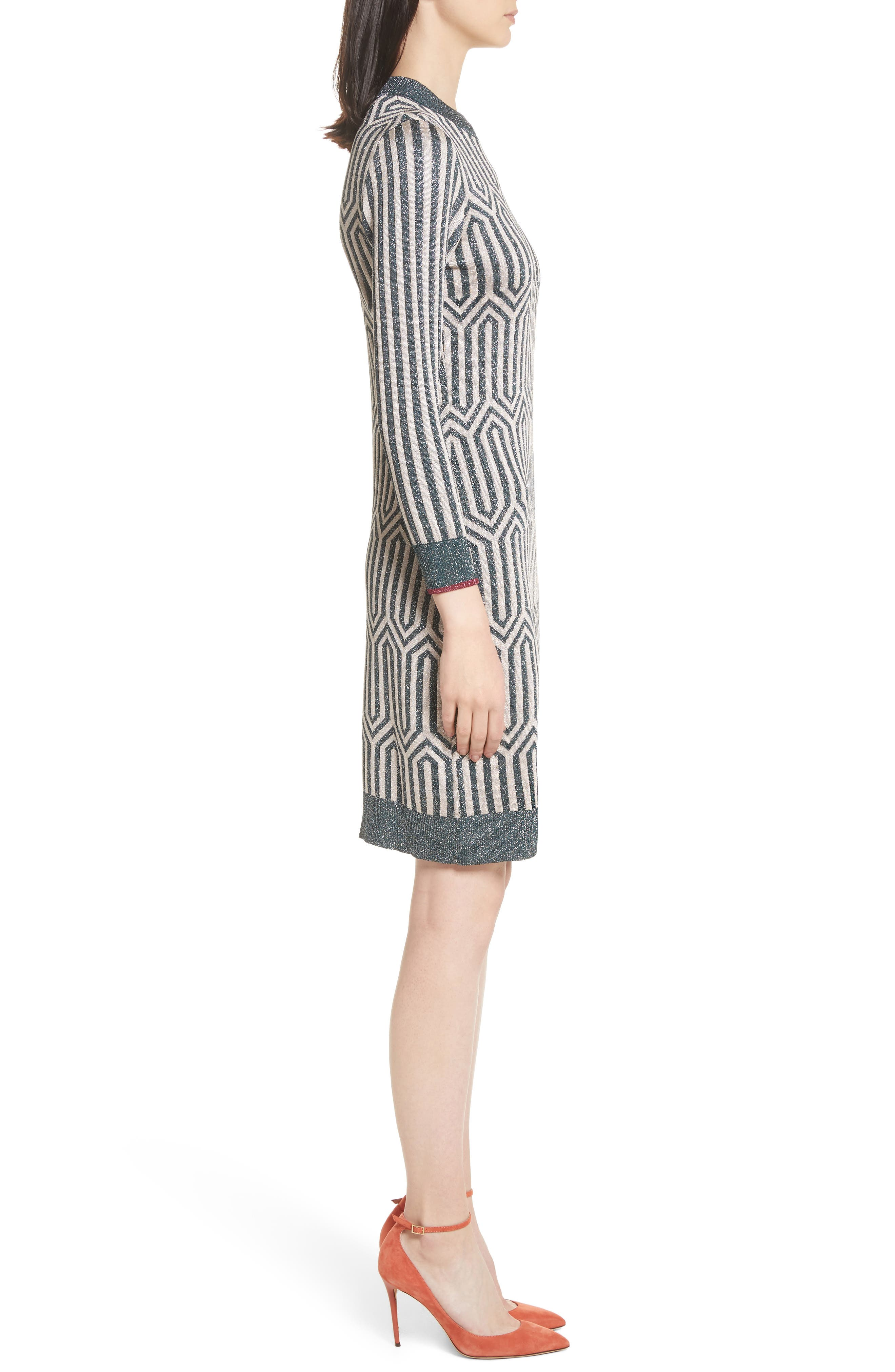 Metallic Knit Dress,                             Alternate thumbnail 3, color,                             440