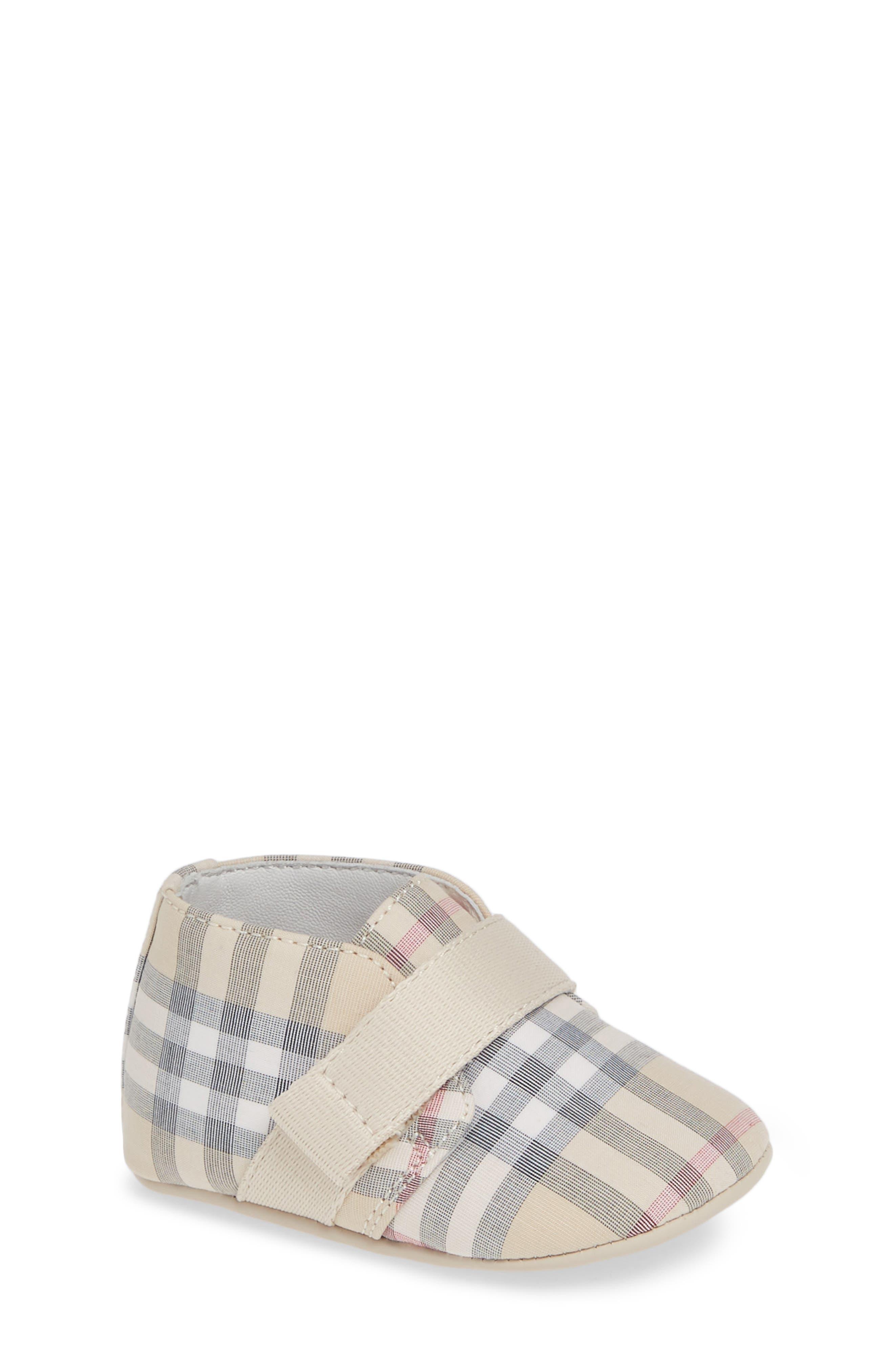 Charlton Check Crib Shoe,                         Main,                         color, PALE STONE