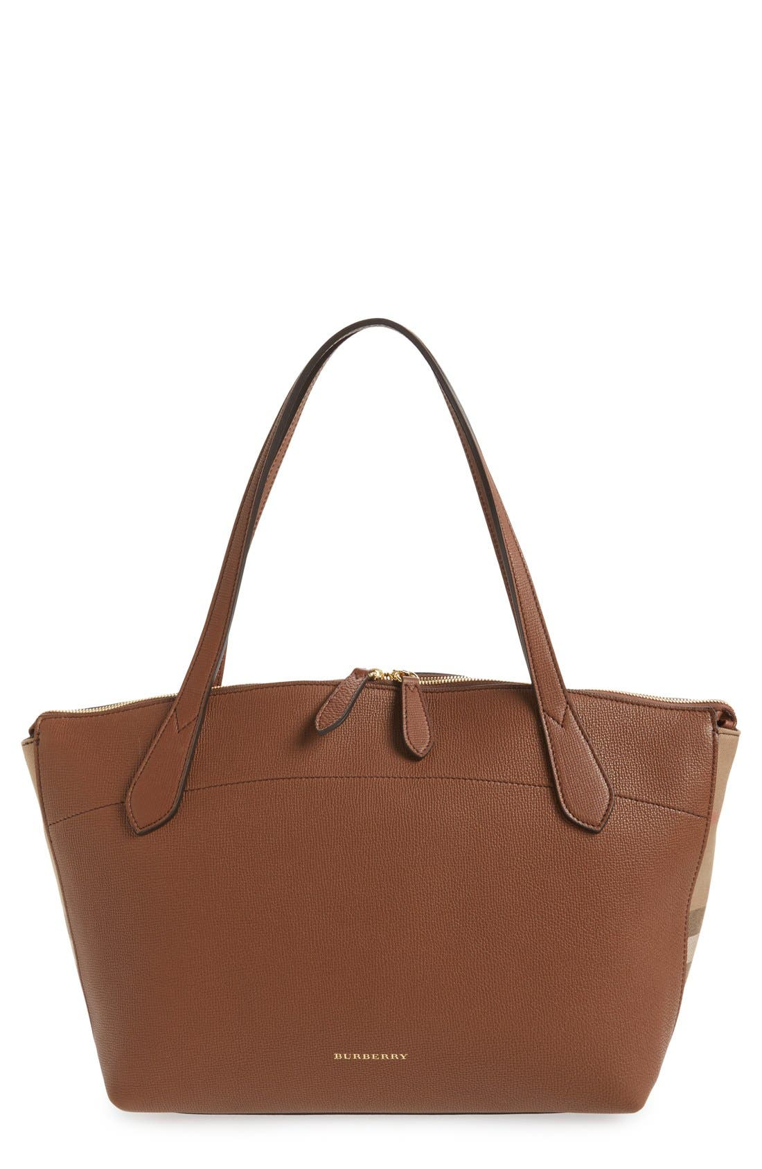 Welburn Check Leather Tote,                         Main,                         color, 200