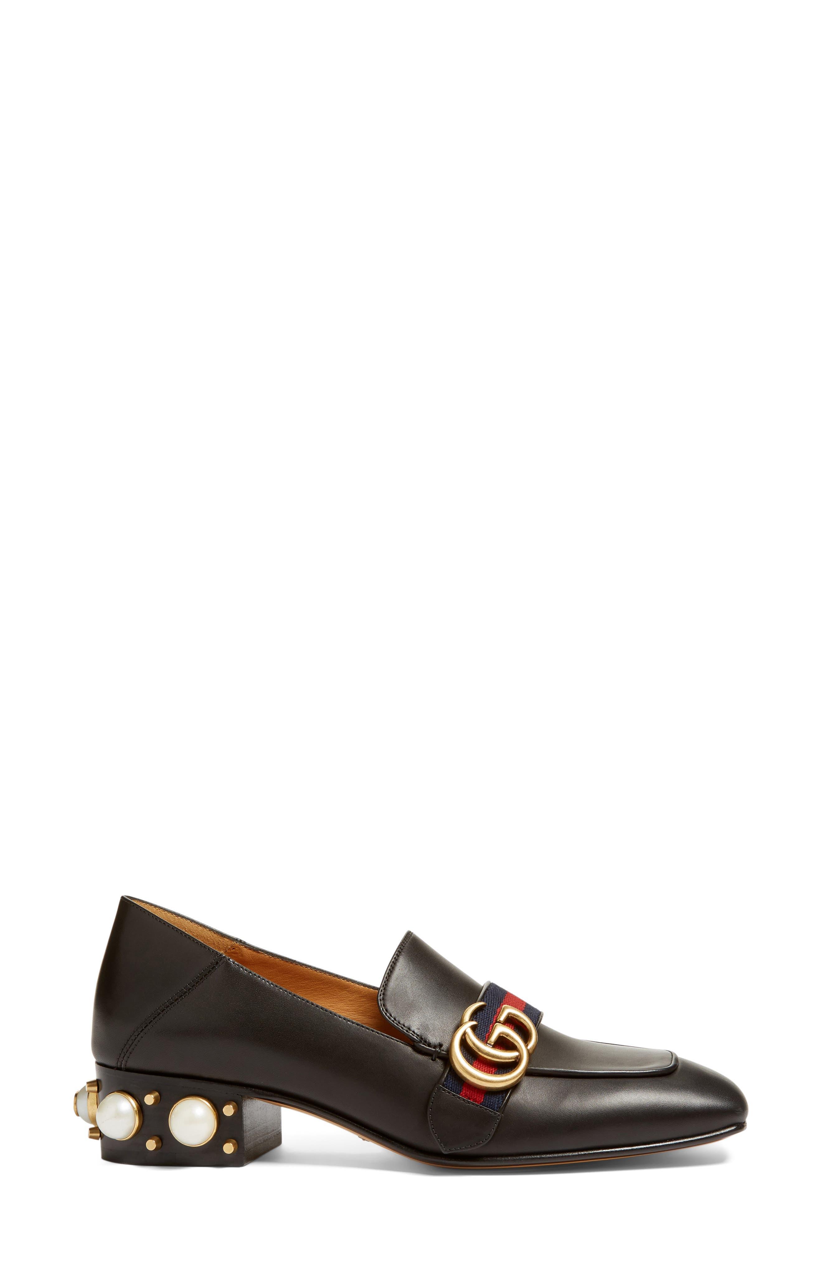 Embellished Heel Loafer,                             Alternate thumbnail 4, color,                             001