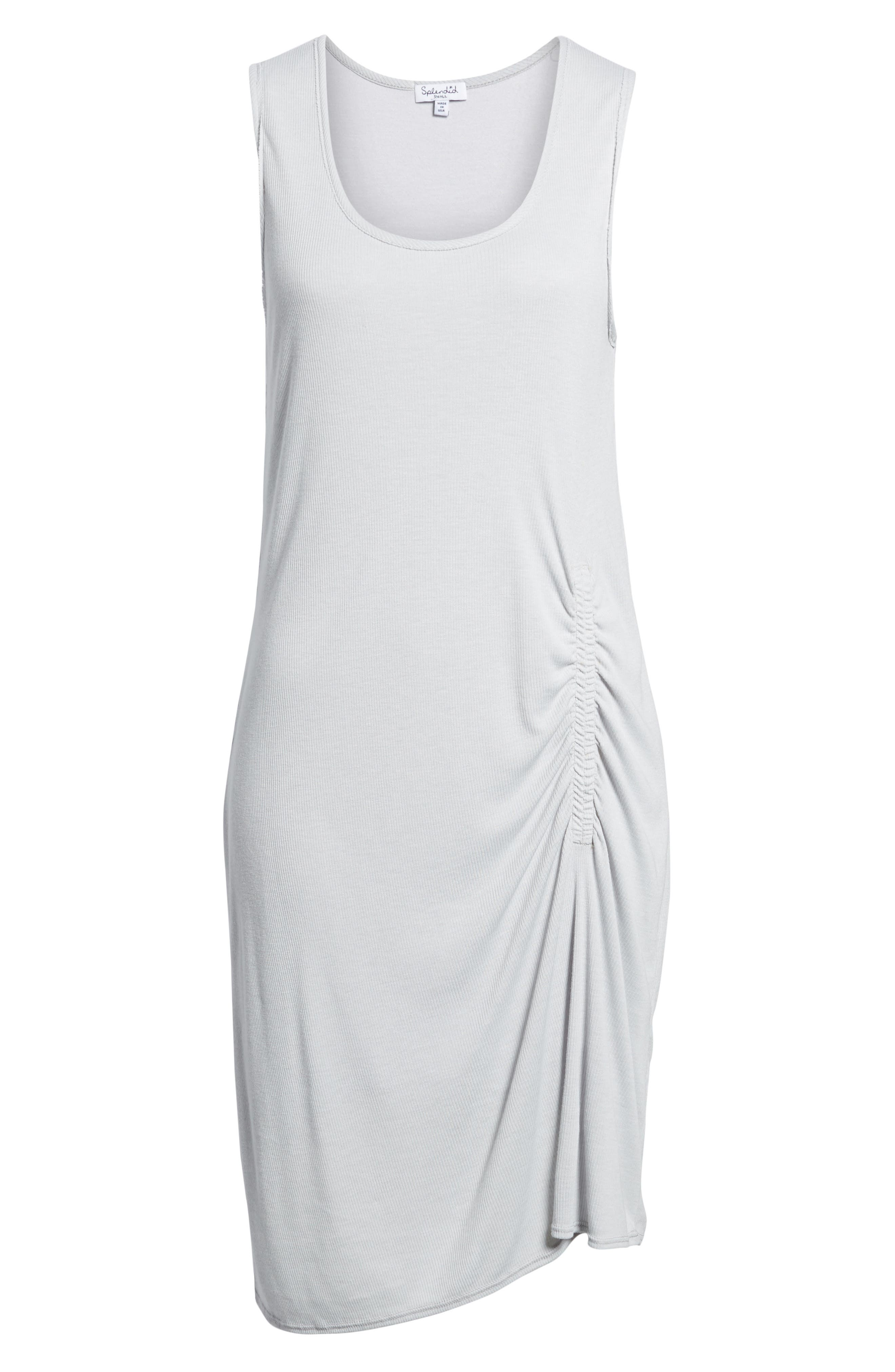 Ruched Rib Knit Dress,                             Alternate thumbnail 6, color,                             HEATHER GREY