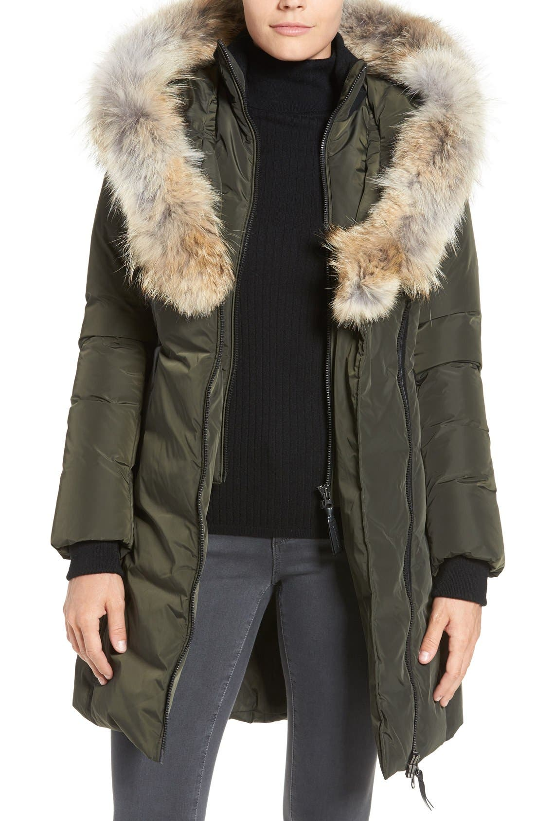 Down Puffer with Coyote Fur Trim,                             Main thumbnail 3, color,