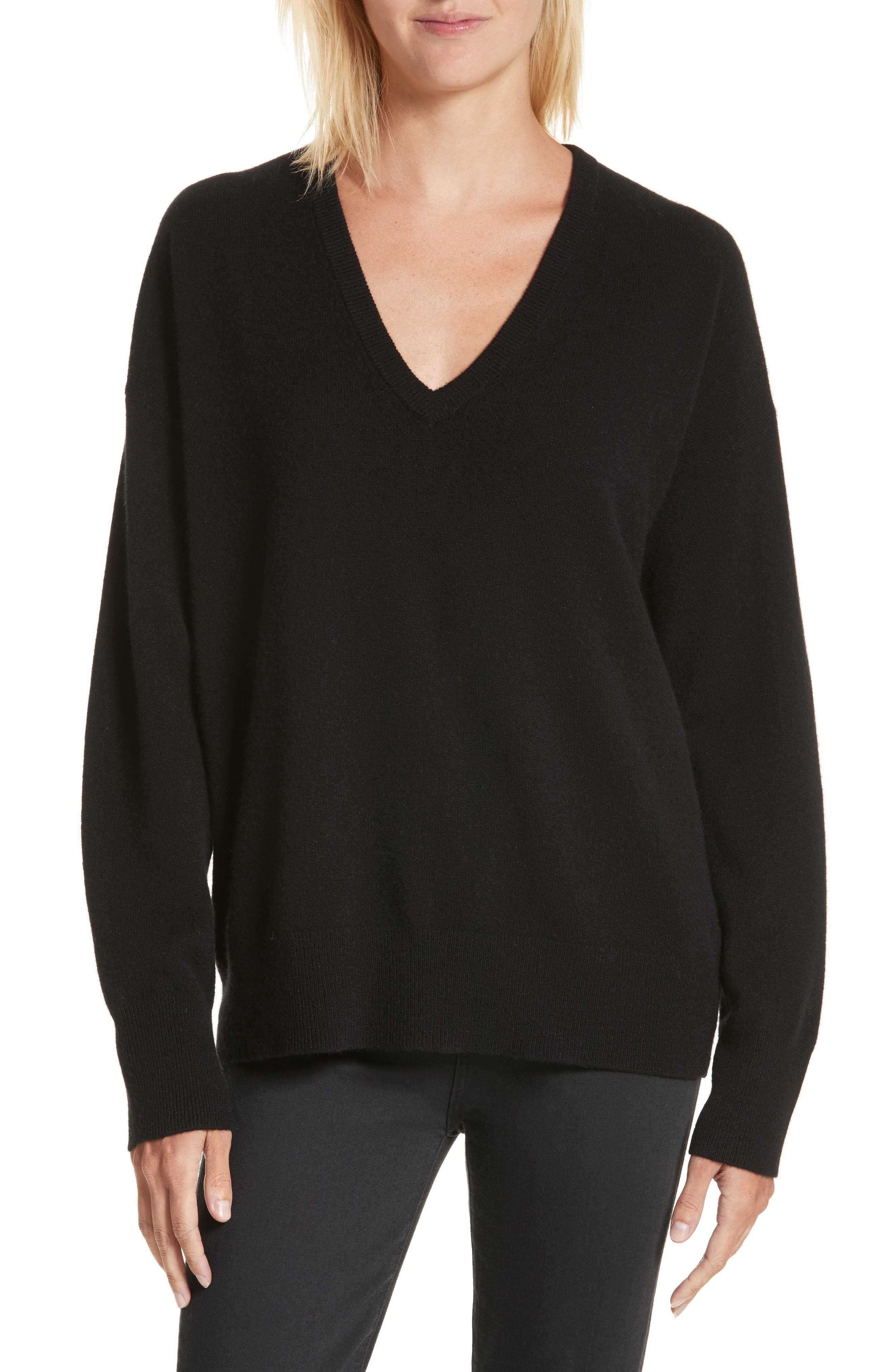 Lucinda V-Neck Cashmere Pullover,                             Main thumbnail 1, color,                             001