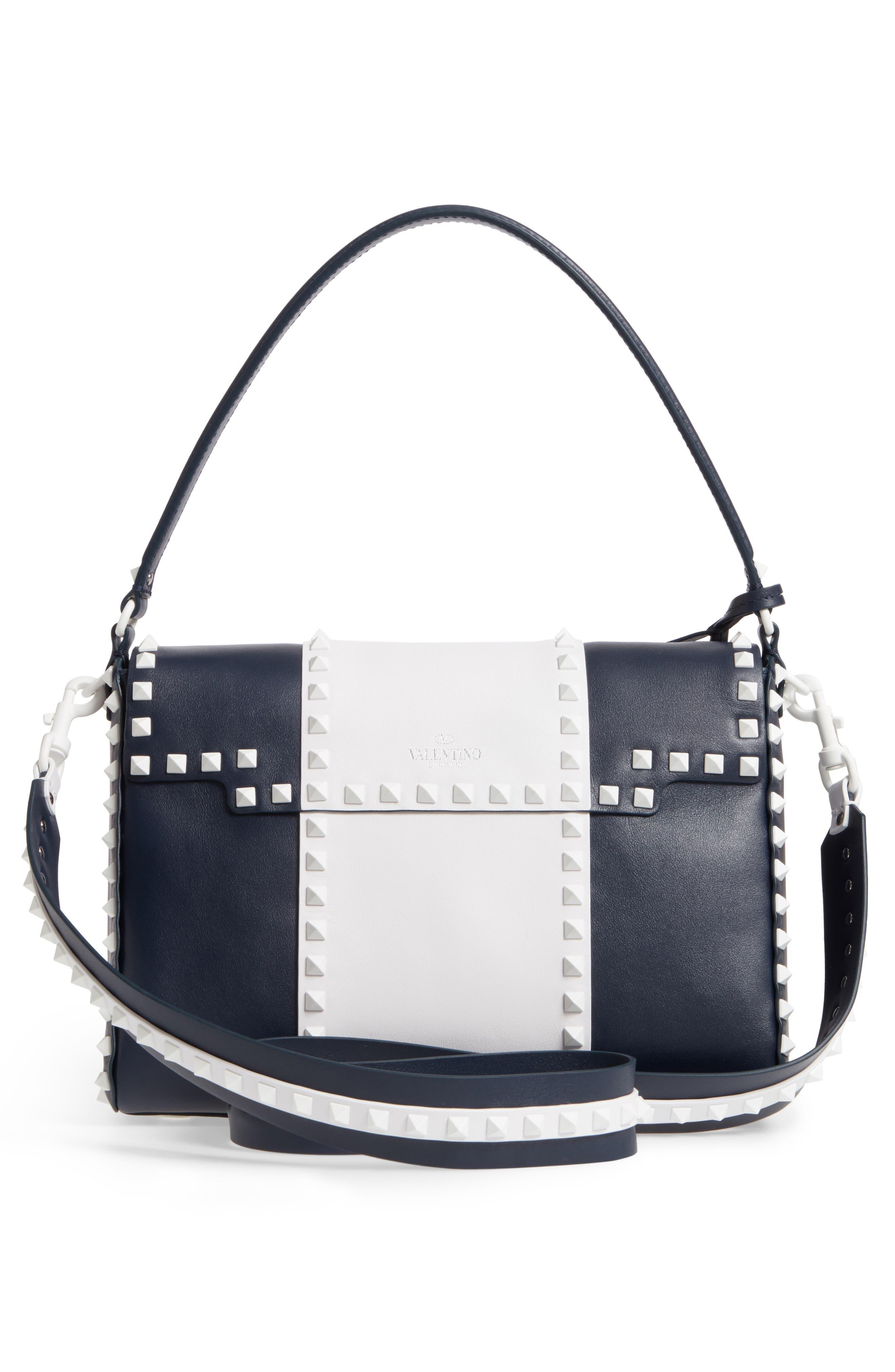 Rockstud Calfskin Top Handle Bag,                             Alternate thumbnail 3, color,                             400