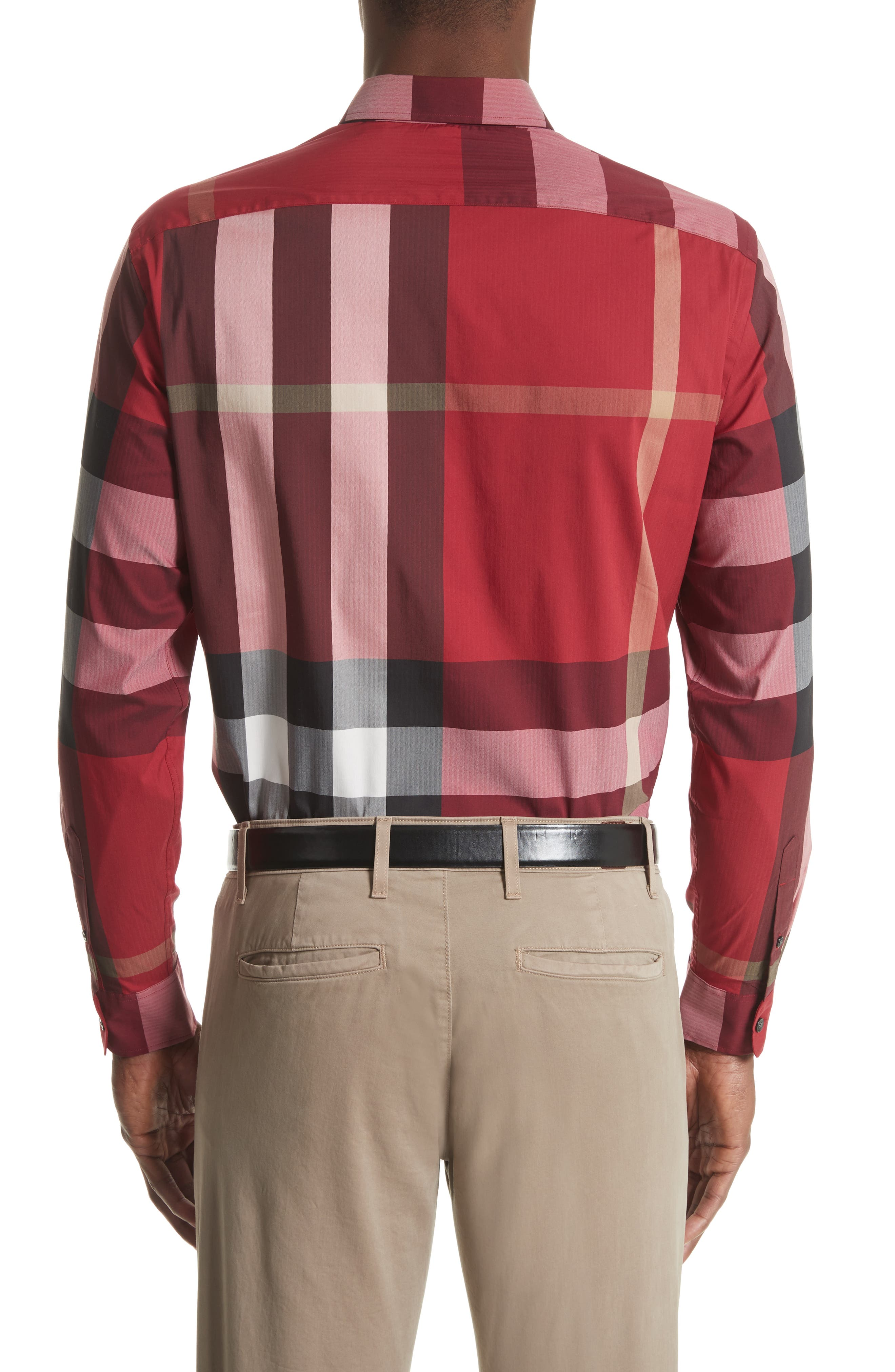 Thornaby Slim Fit Plaid Sportshirt,                             Alternate thumbnail 3, color,                             PARADE RED