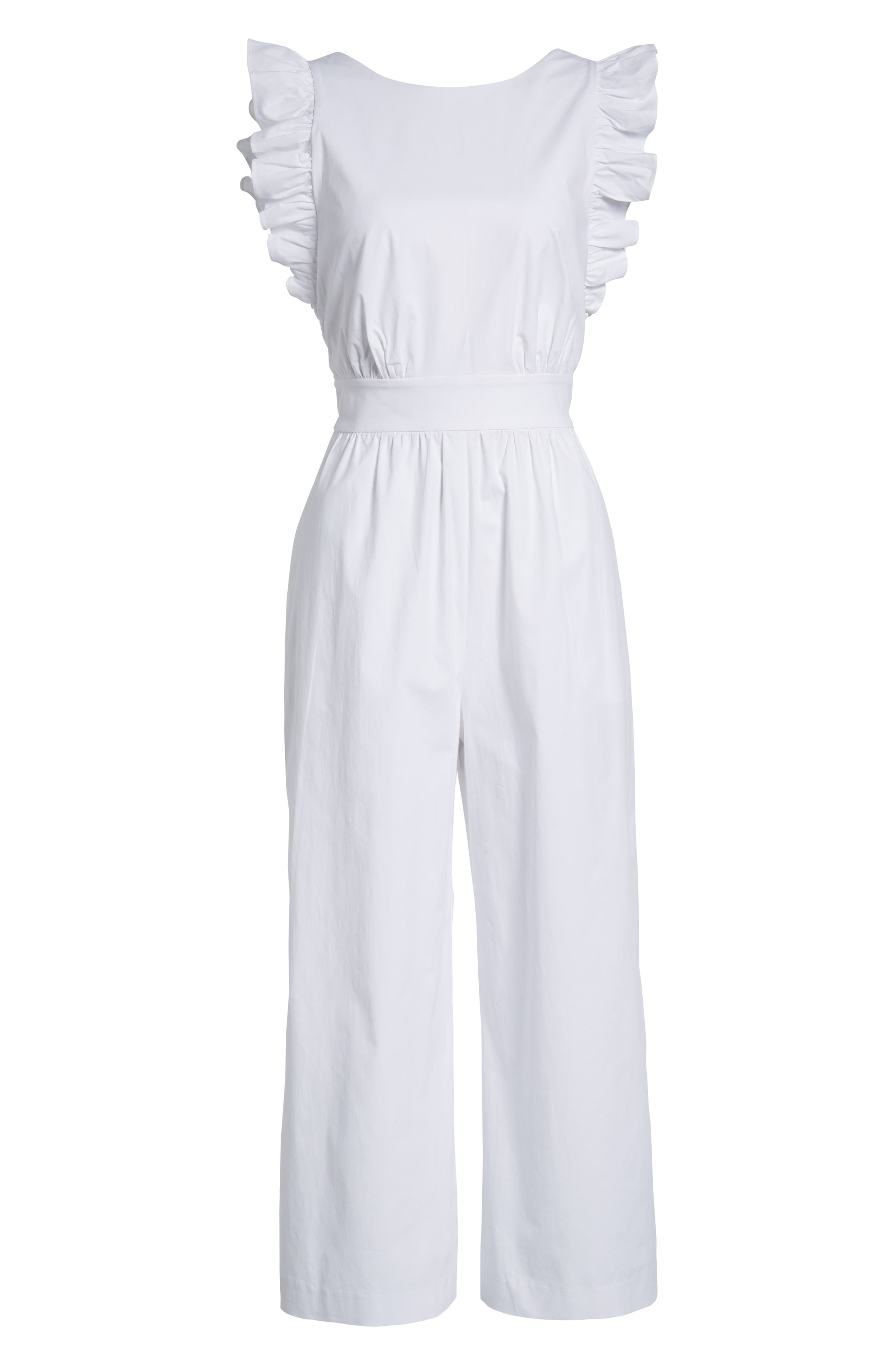 Ruffle Sleeve Crop Jumpsuit,                             Alternate thumbnail 6, color,                             100