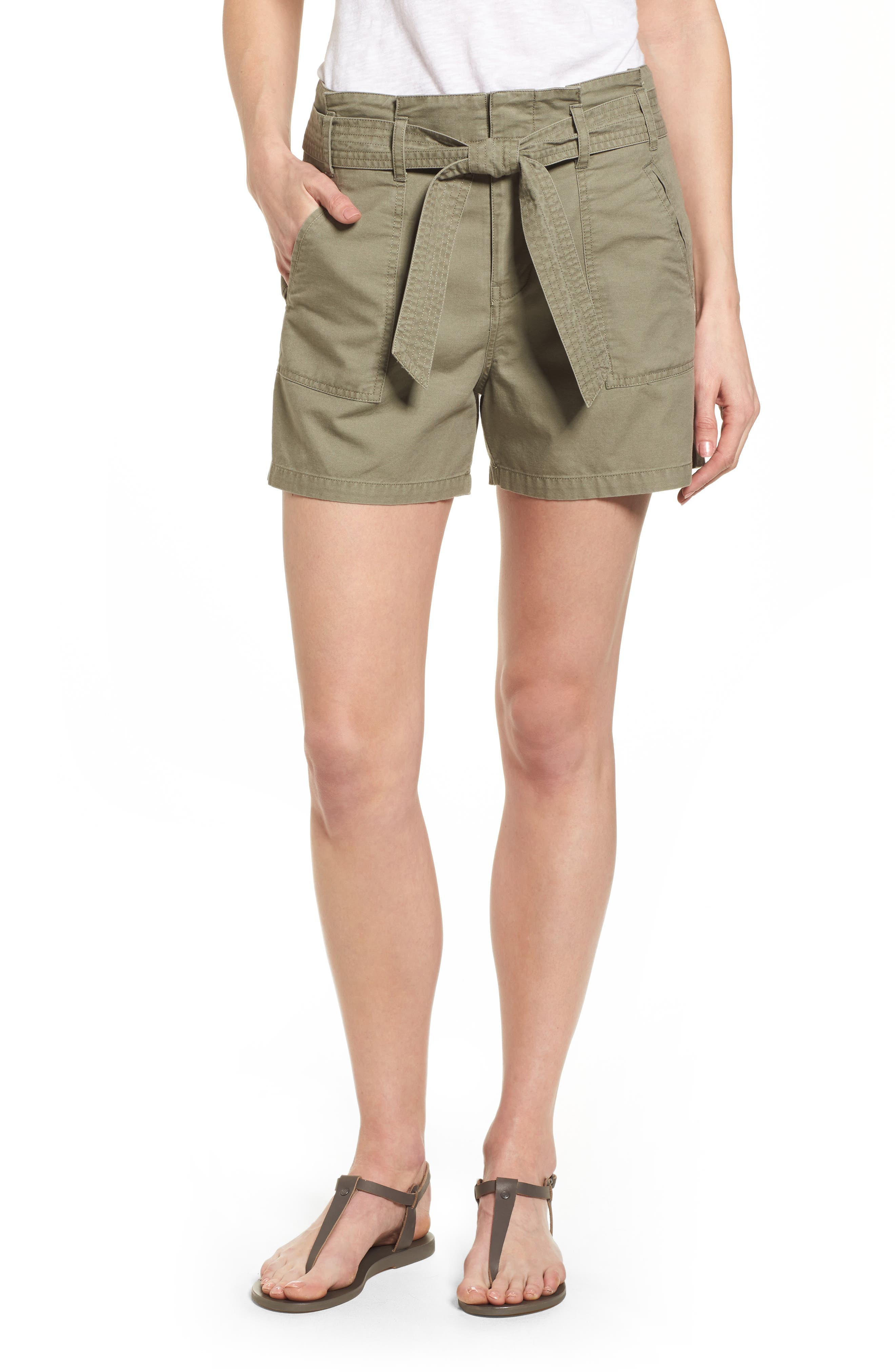 Belted Twill Shorts,                             Main thumbnail 3, color,