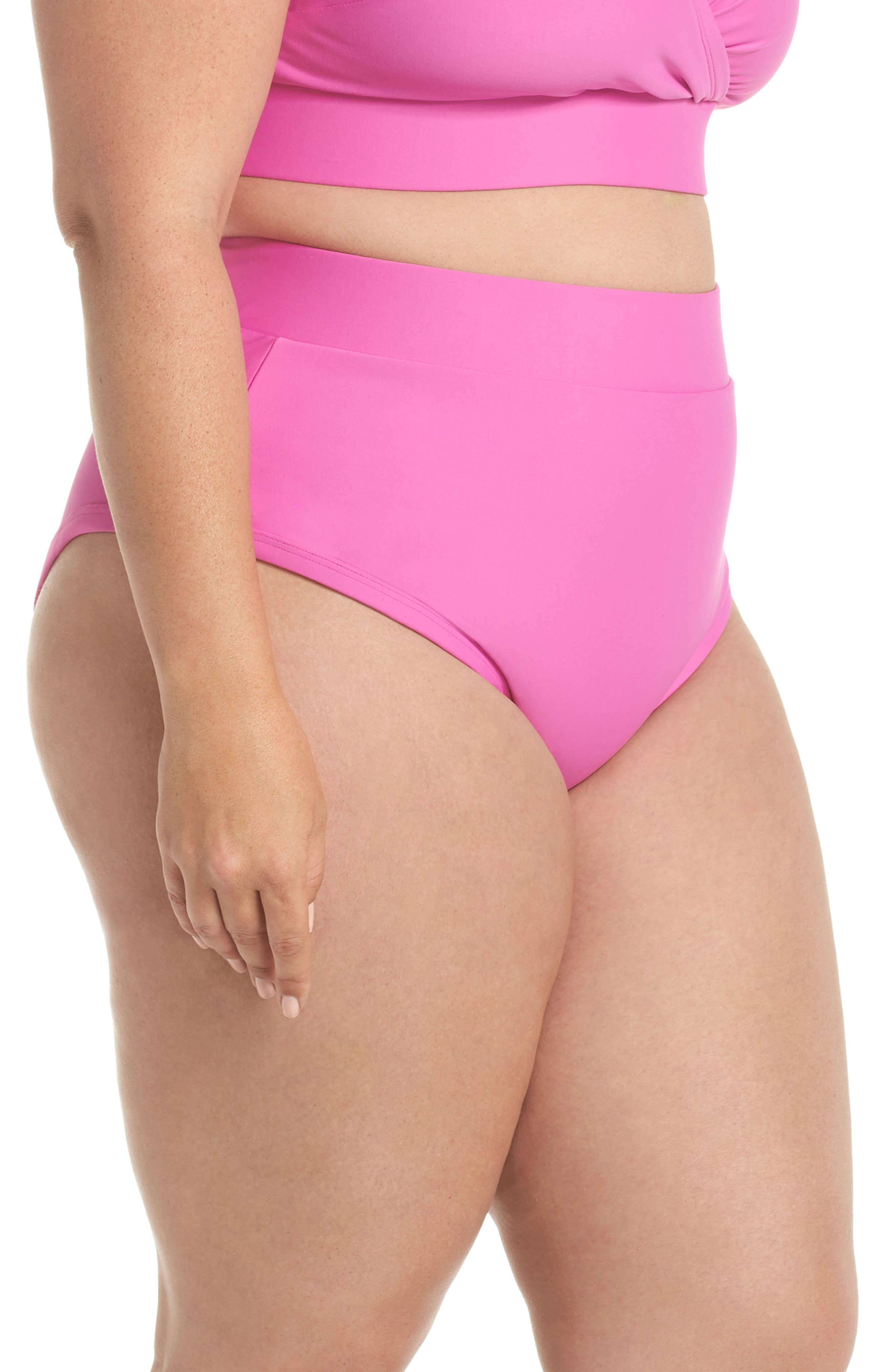 Lover High Waist Bikini Bottoms,                             Alternate thumbnail 3, color,                             MAGENTA