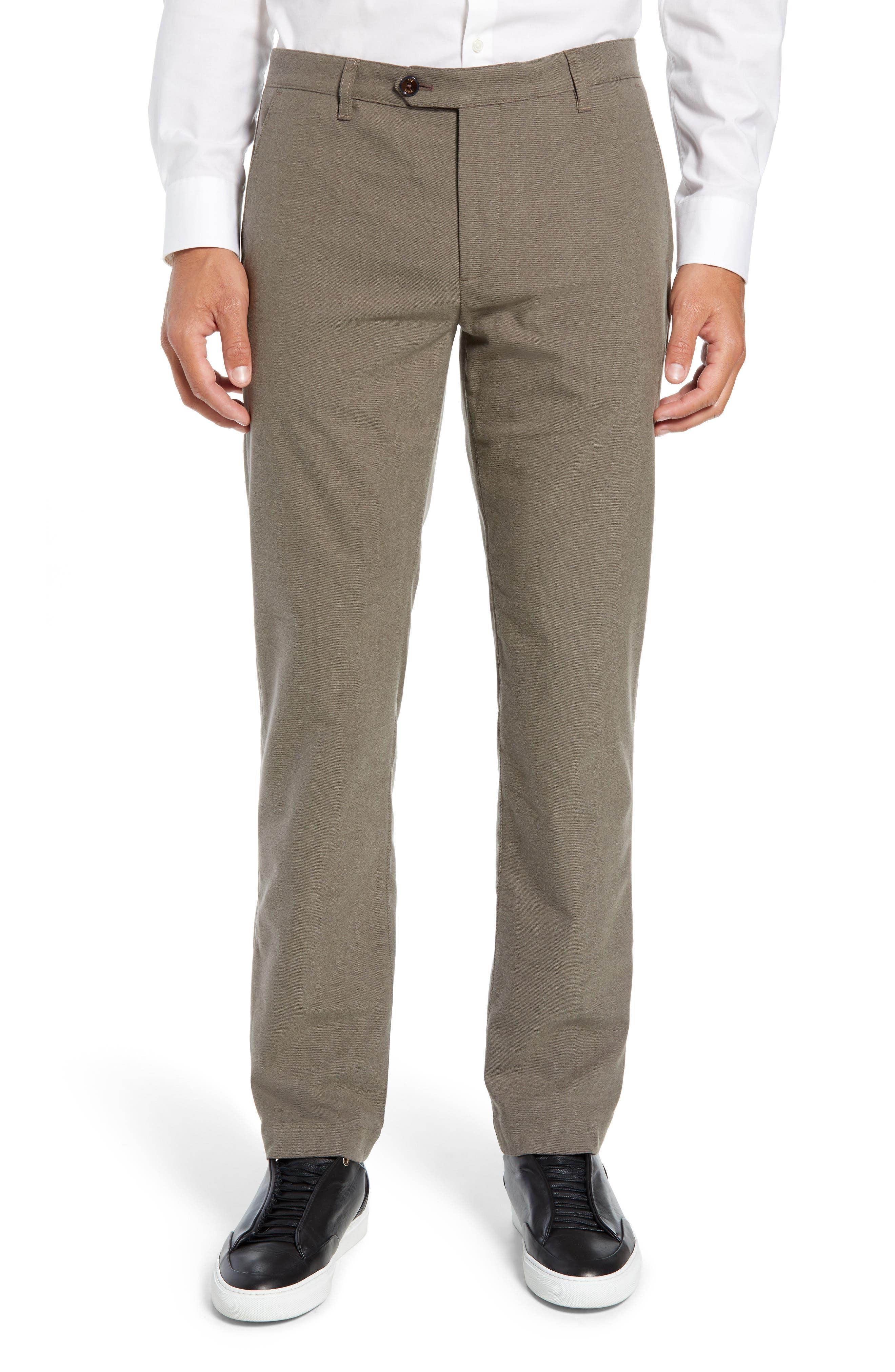 Semplin Slim Fit Brushed Trousers,                         Main,                         color, NATURAL