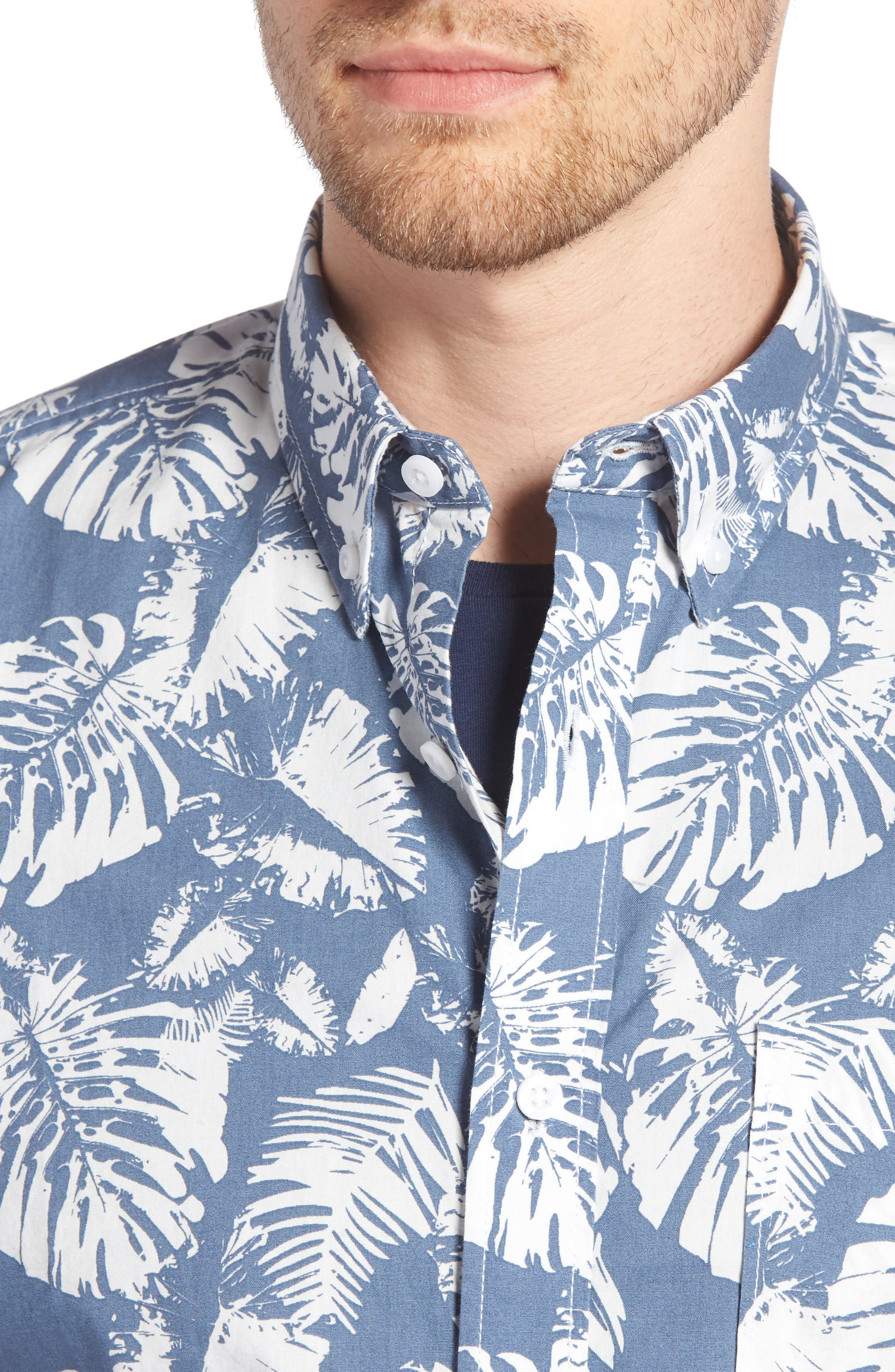 Trim Fit Palm Print Sport Shirt,                             Alternate thumbnail 4, color,                             410