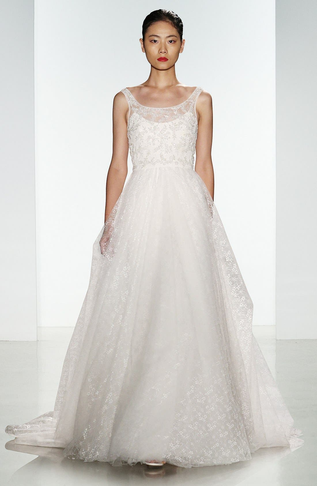 Claire Beaded Chantilly Lace & Floral Tulle Ballgown,                             Alternate thumbnail 6, color,                             900