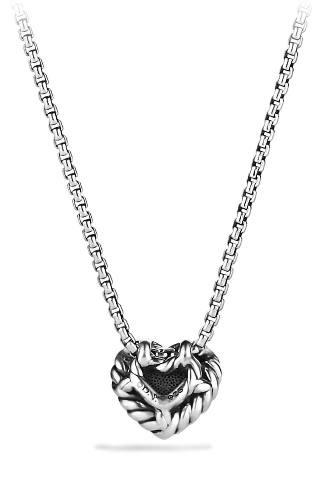 'Châtelaine' Heart Pendant Necklace with Diamonds,                             Alternate thumbnail 3, color,                             DIAMOND