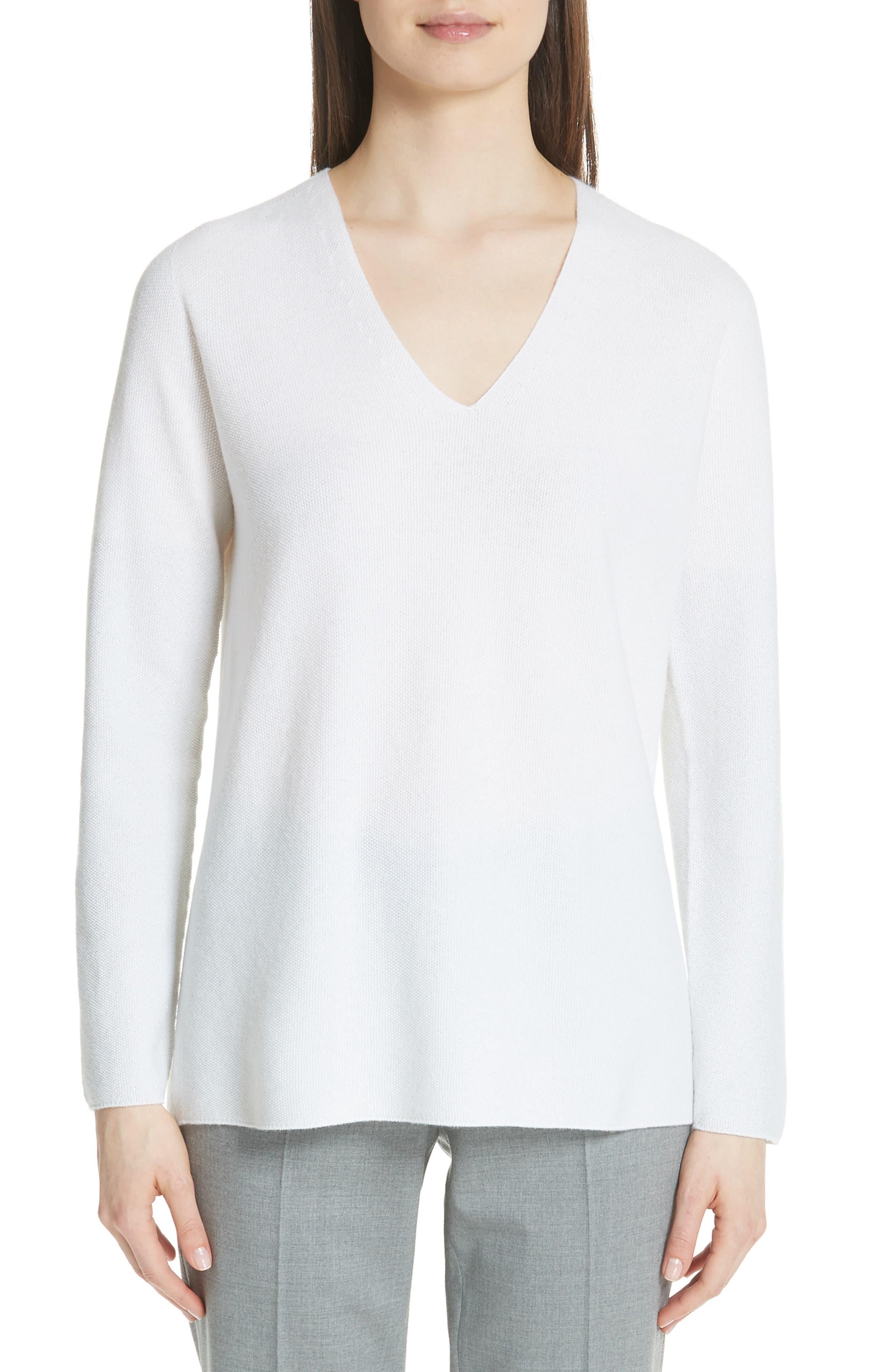 Fabiana Filippi Metallic Sleeve Merino Wool, Silk & Cashmere Sweater, 8 IT - White