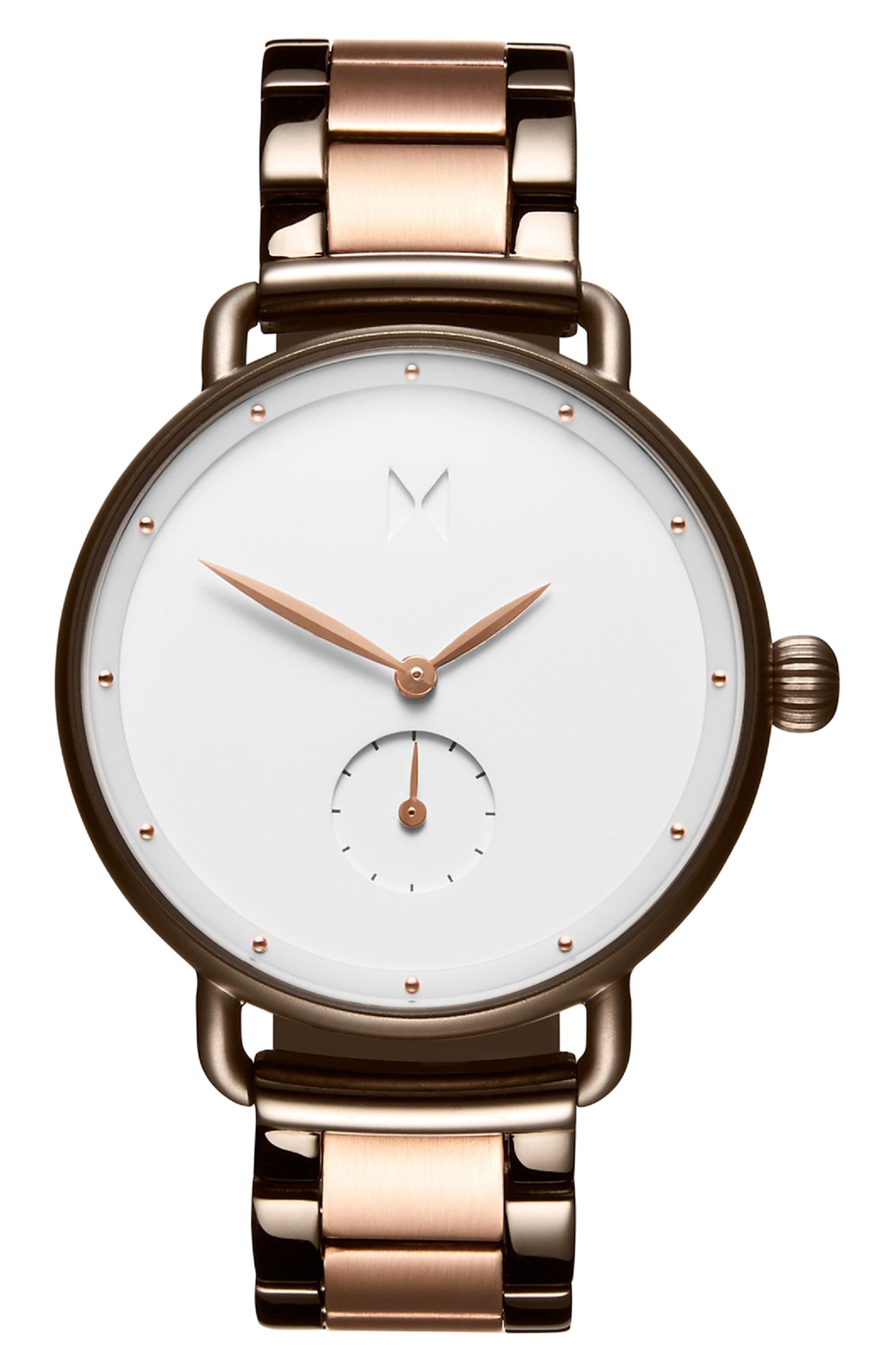Bloom Bracelet Watch, 36mm,                             Main thumbnail 1, color,                             ROSE GOLD/ WHITE