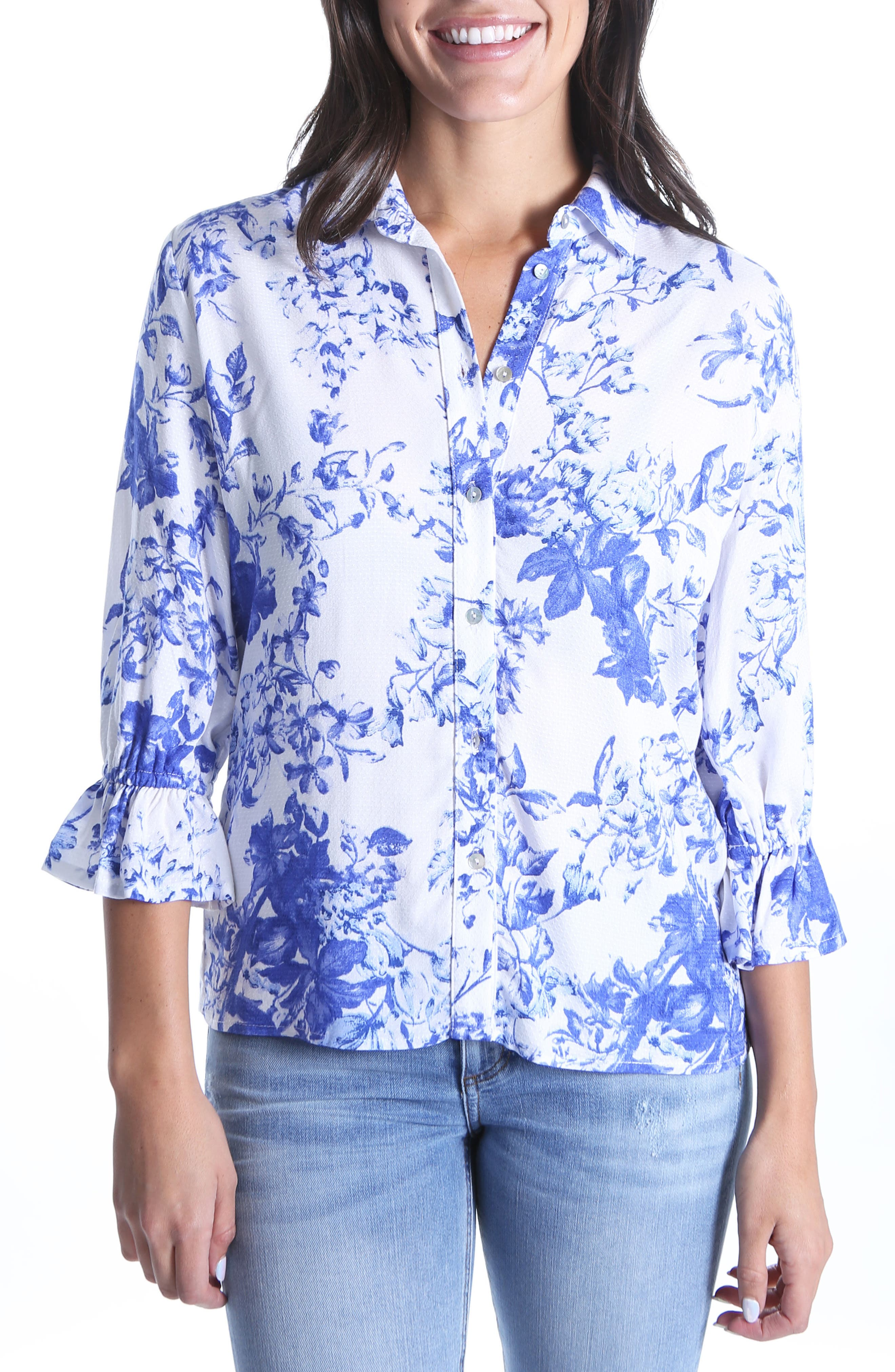 Elza Ruffle Sleeve Top,                         Main,                         color, WHITE/ BLUE