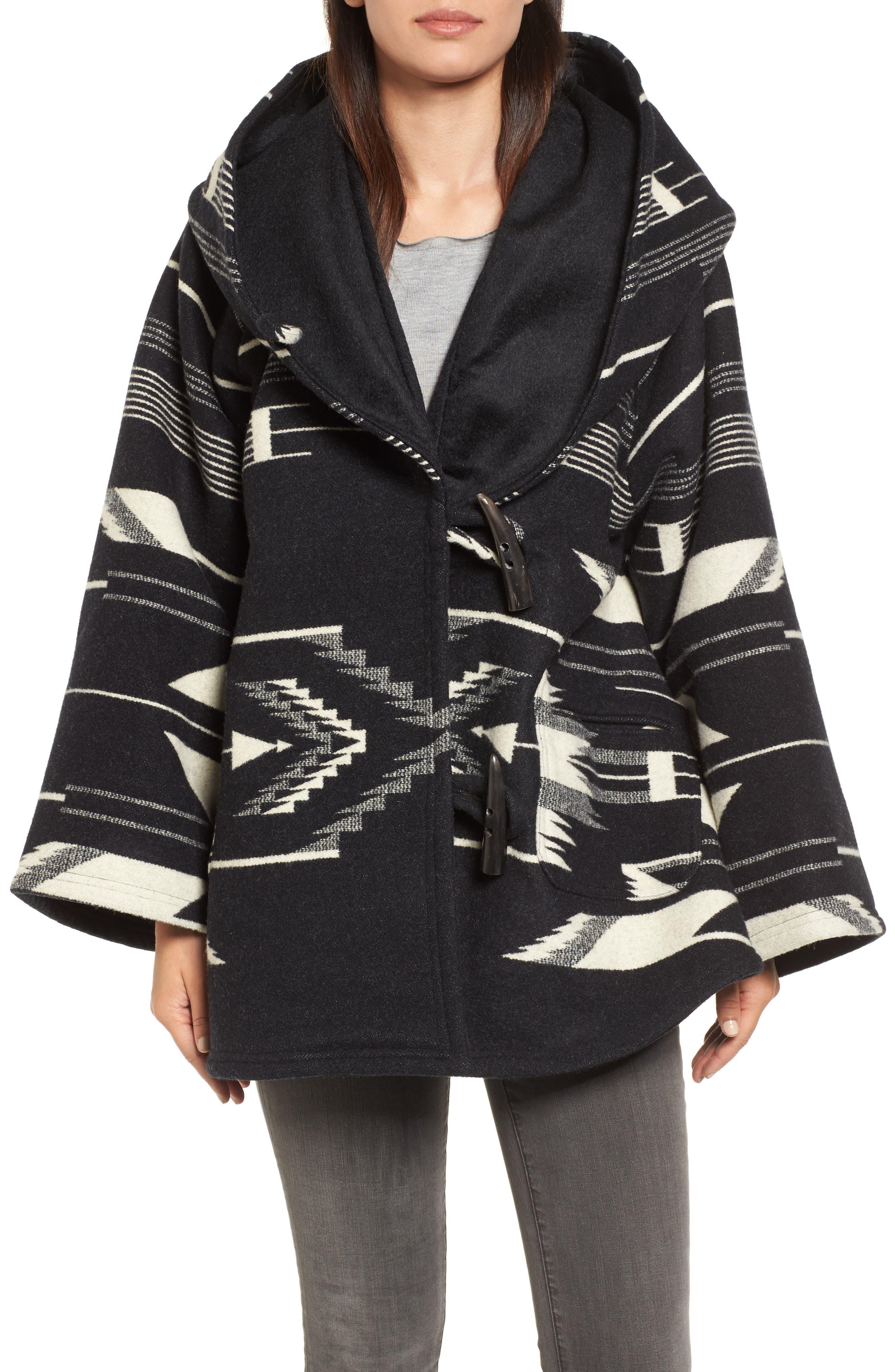 LINDSEY THORNBURG,                             x Pendleton Wool Blend Hooded Cape,                             Main thumbnail 1, color,                             005