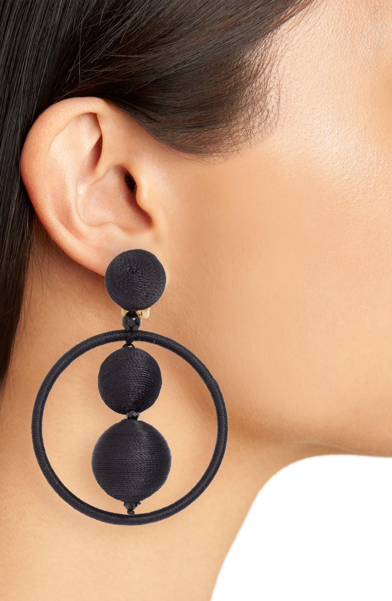 OSCAR DE LA RENTA,                             Double Beaded Ball Hoop Clip-On Earrings,                             Alternate thumbnail 2, color,                             001