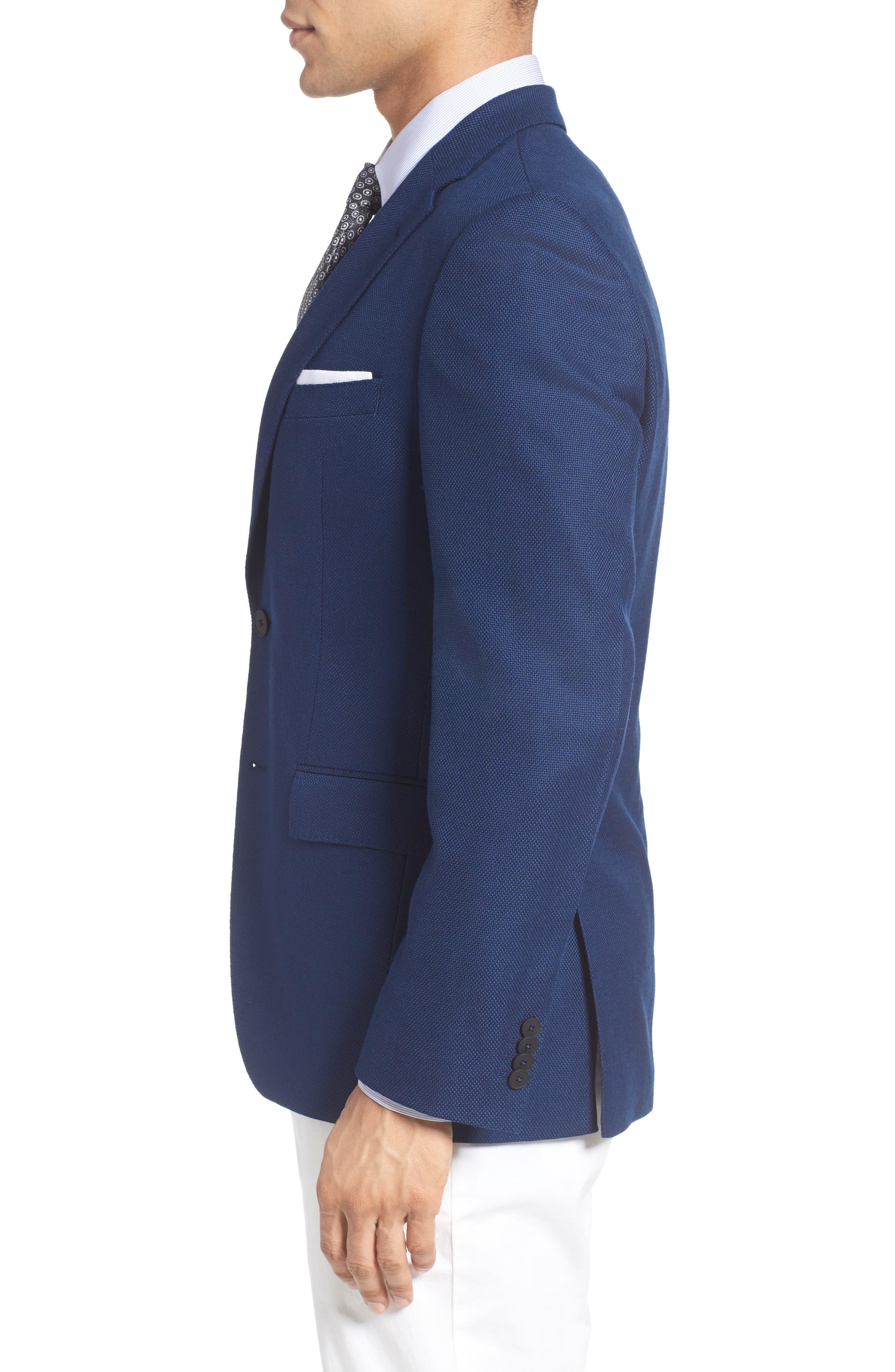 ZZDNUHUGO BOSS,                             BOSS Jet Trim Fit Stretch Wool Travel Blazer,                             Alternate thumbnail 3, color,                             420