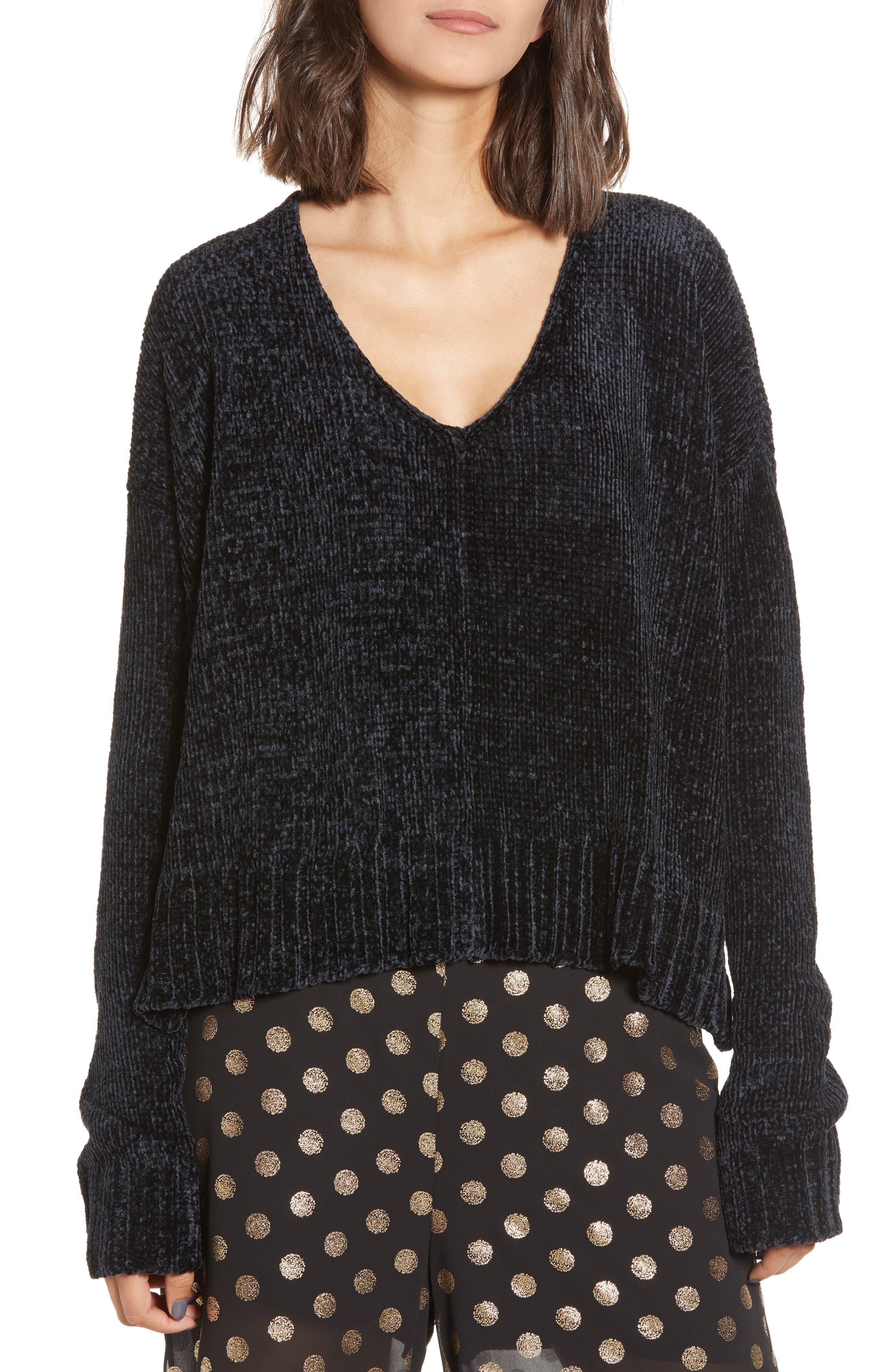 SHOW ME YOUR MUMU Black Chenille Sweater