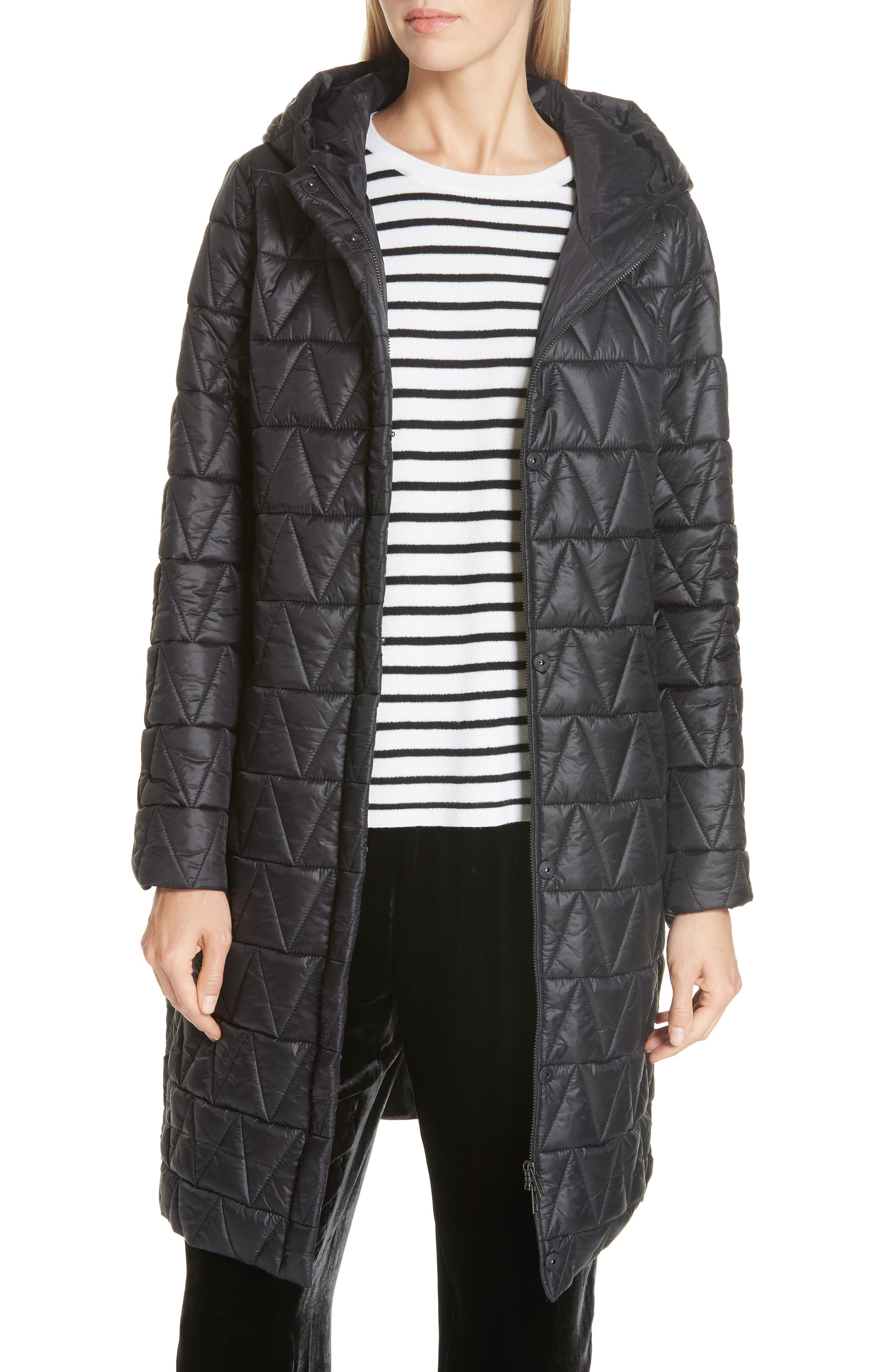 Hooded Quilted Coat, Main, color, 001