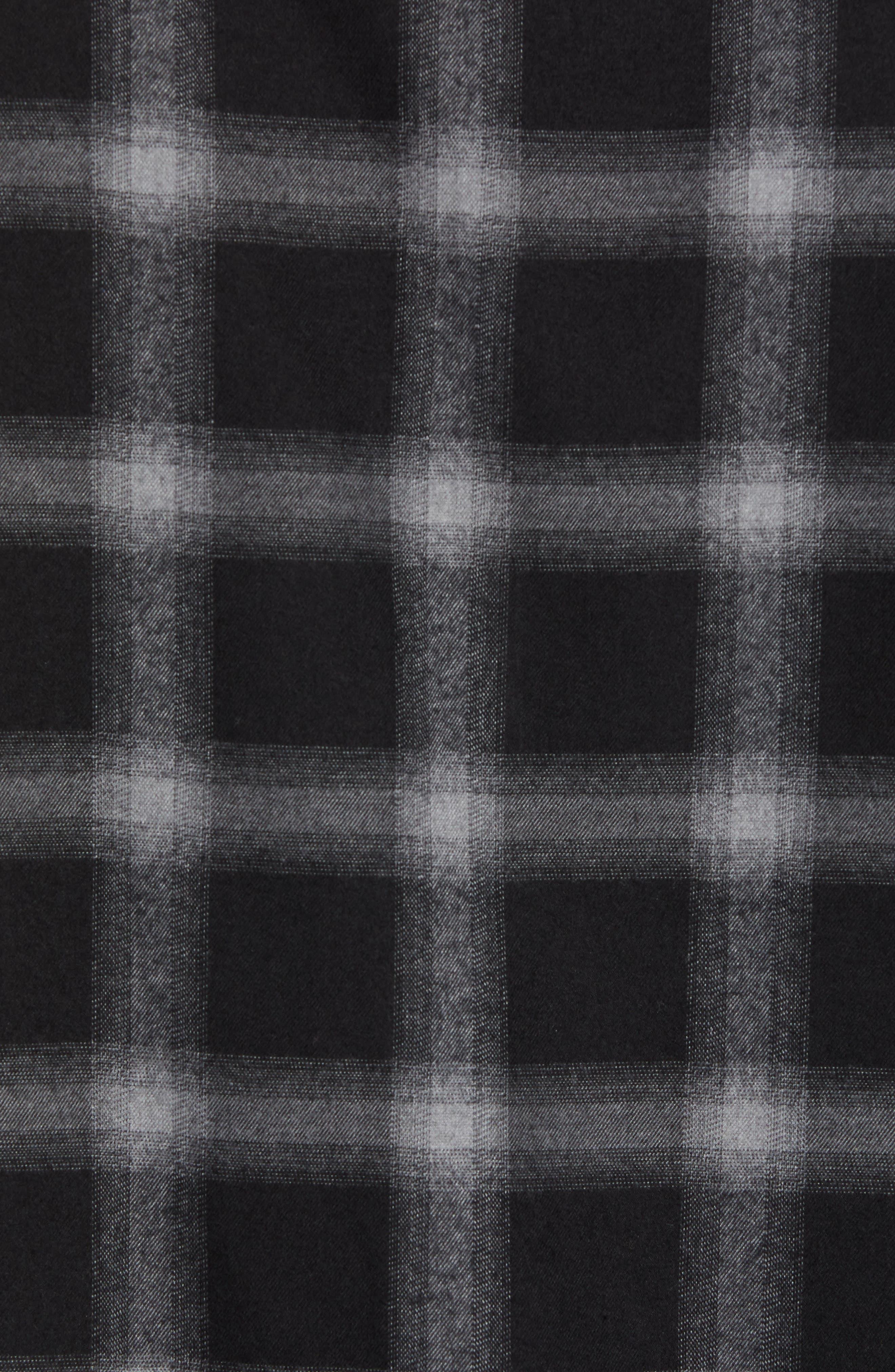 Slim Fit Mini Collar Plaid Flannel Sport Shirt,                             Alternate thumbnail 5, color,                             GREY BLACK SHADOW PLAID