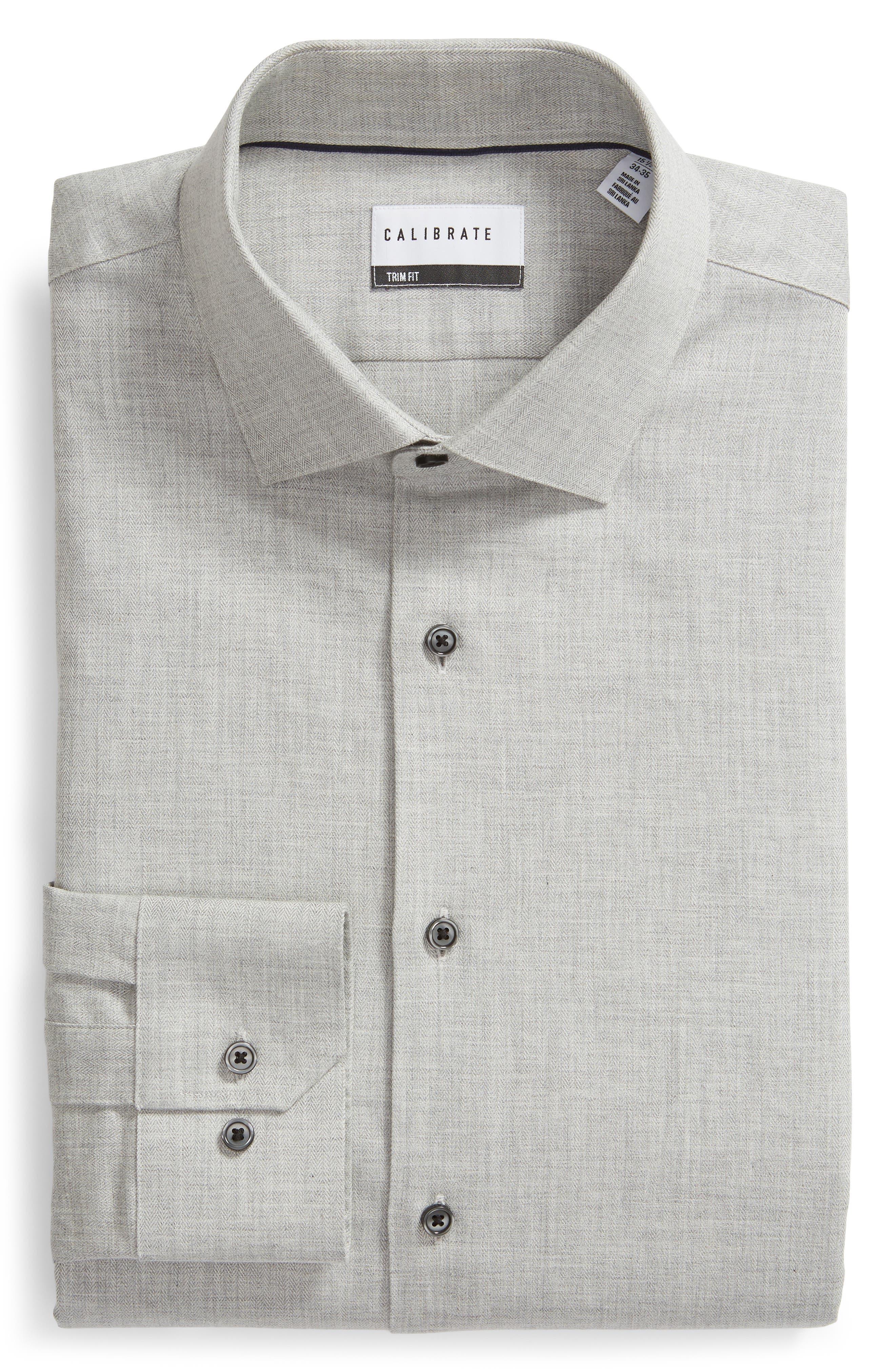 Trim Fit Herringbone Dress Shirt,                             Alternate thumbnail 5, color,                             GREY MICRO
