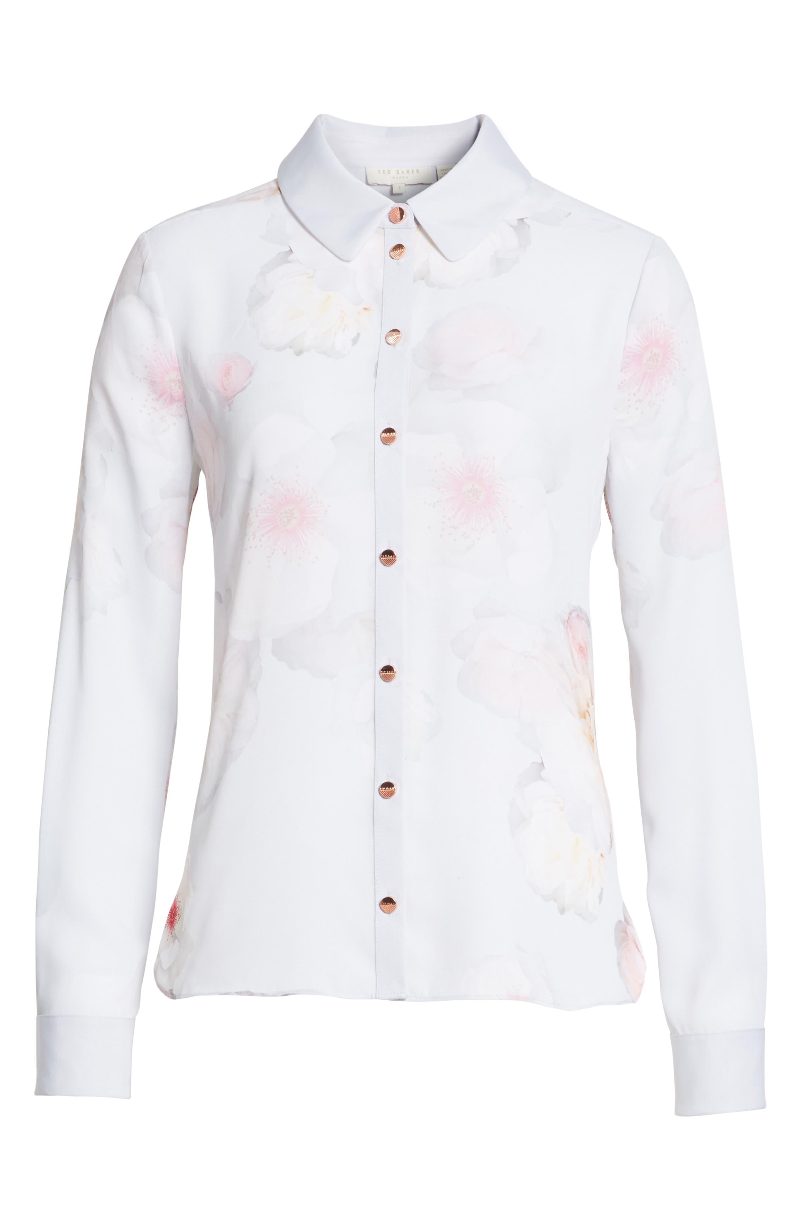 Relar Chelsea Grey Flower Print Shirt,                             Alternate thumbnail 6, color,                             021