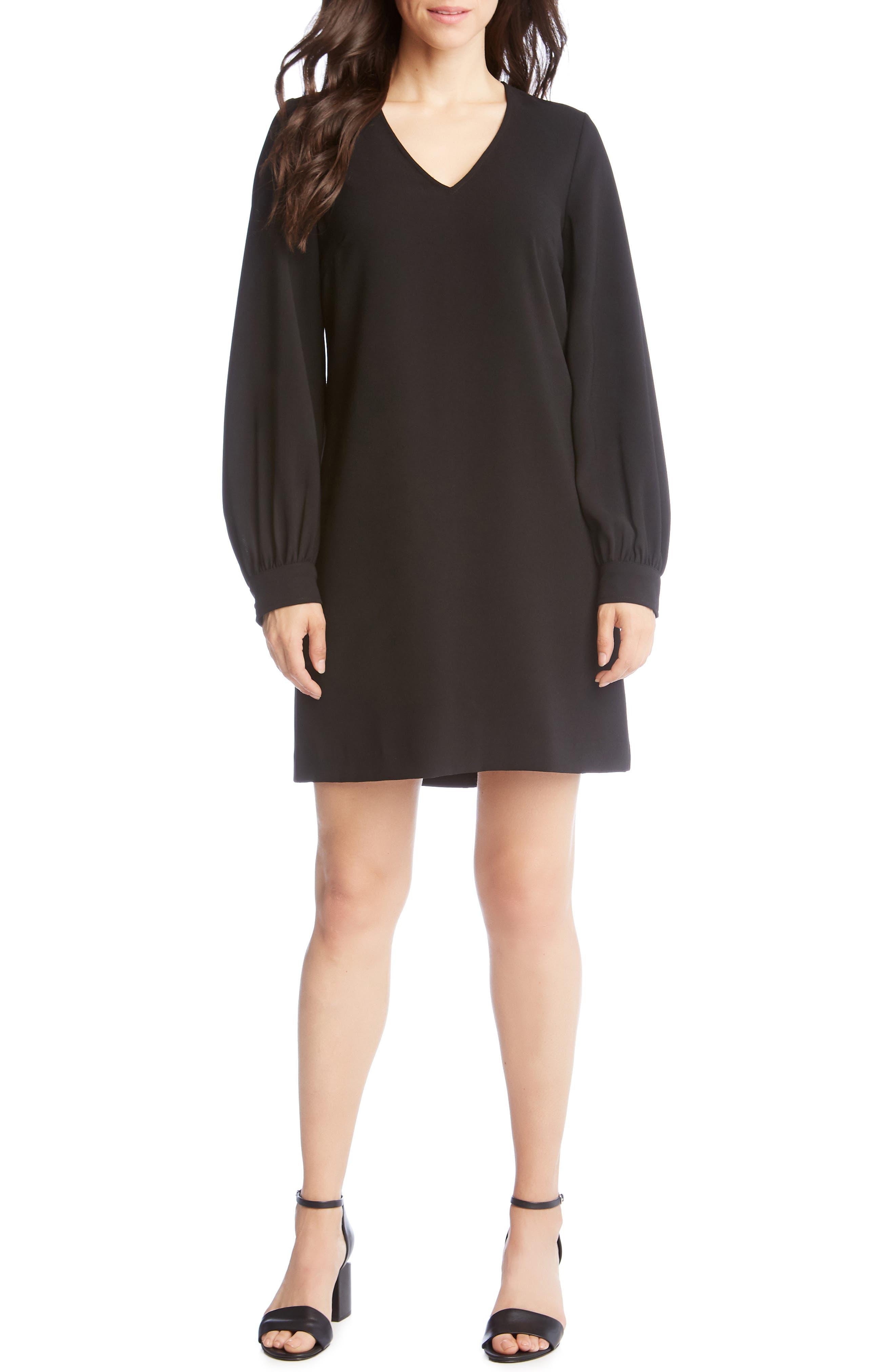 Karen Kane Blouson Sleeve Crepe Dress, Black