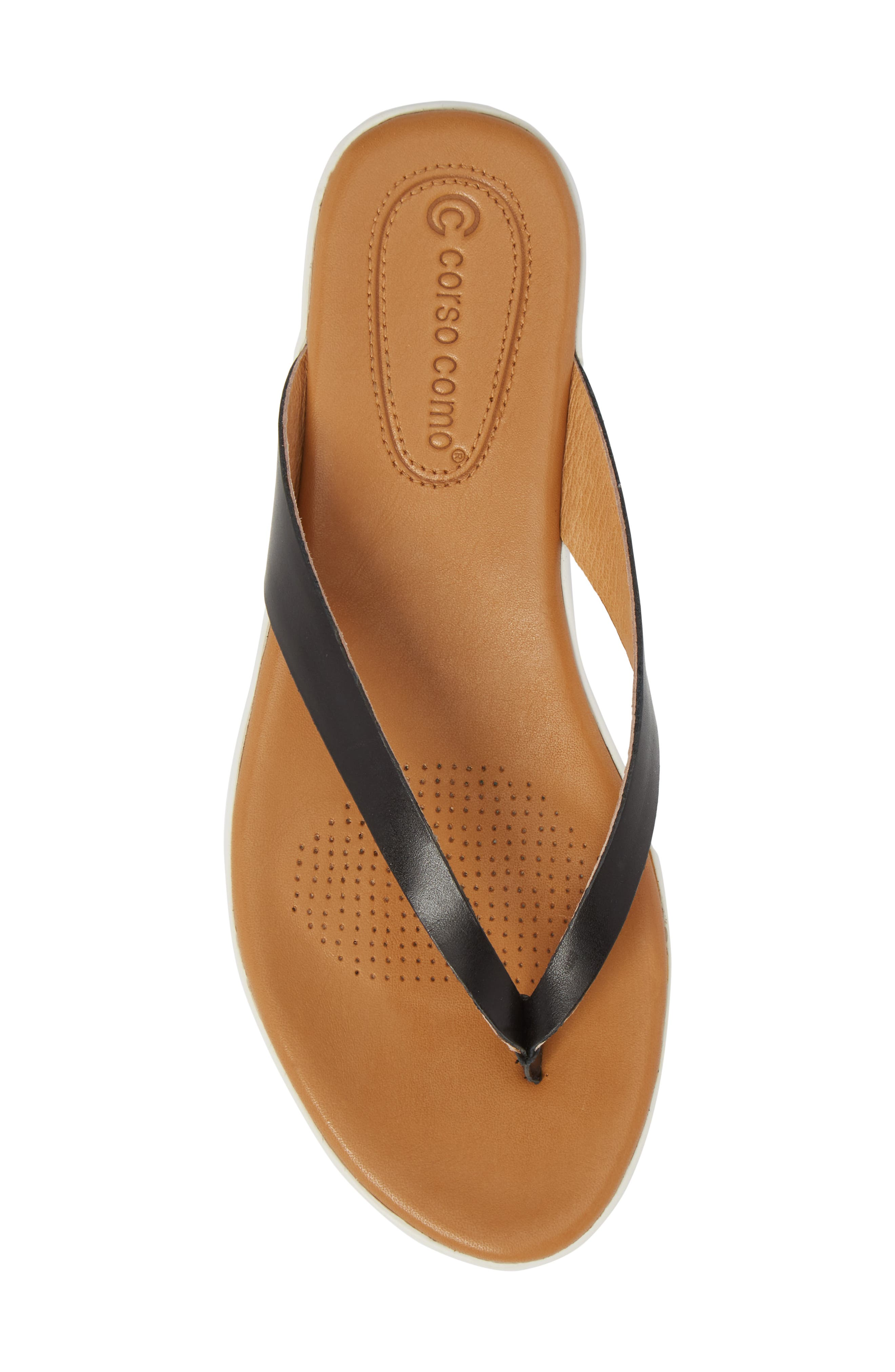 Tinnah Flip Flop,                             Alternate thumbnail 5, color,                             BLACK/ BLACK LEATHER