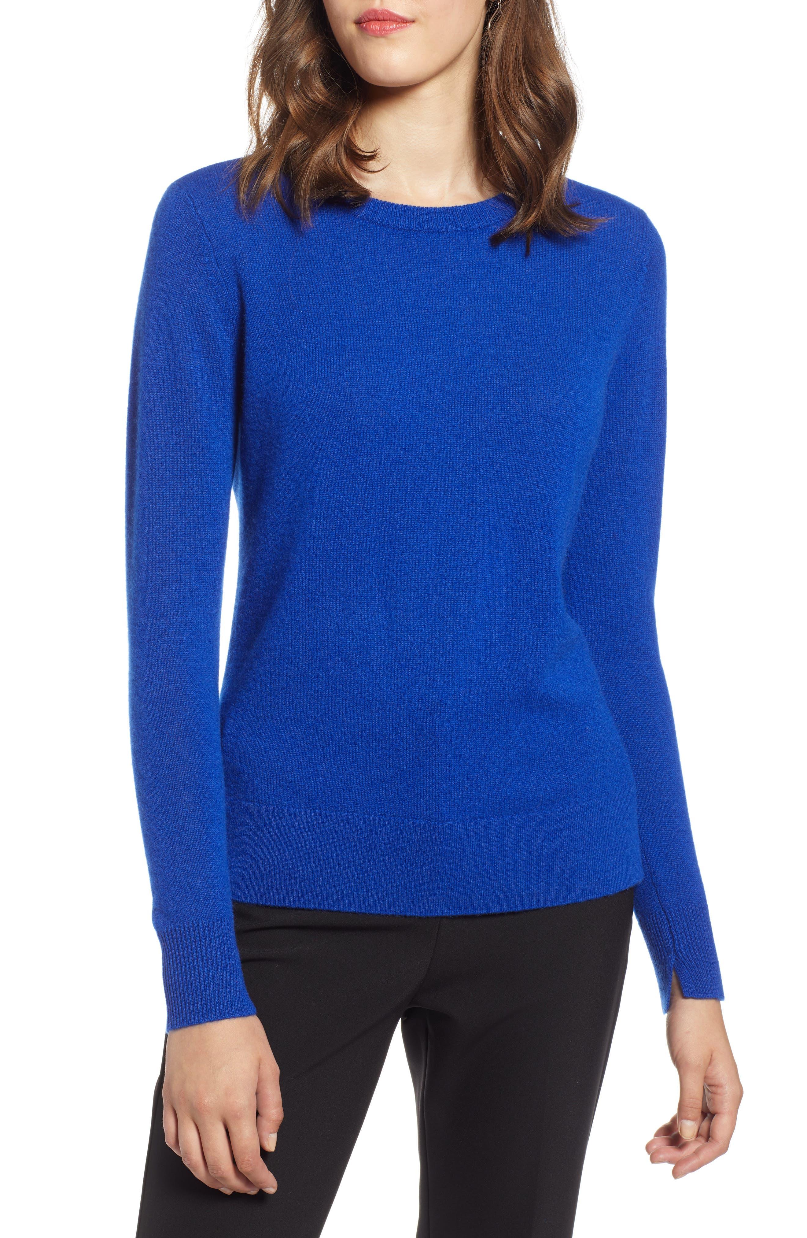 Crewneck Cashmere Sweater, Main, color, BLUE MAZARINE