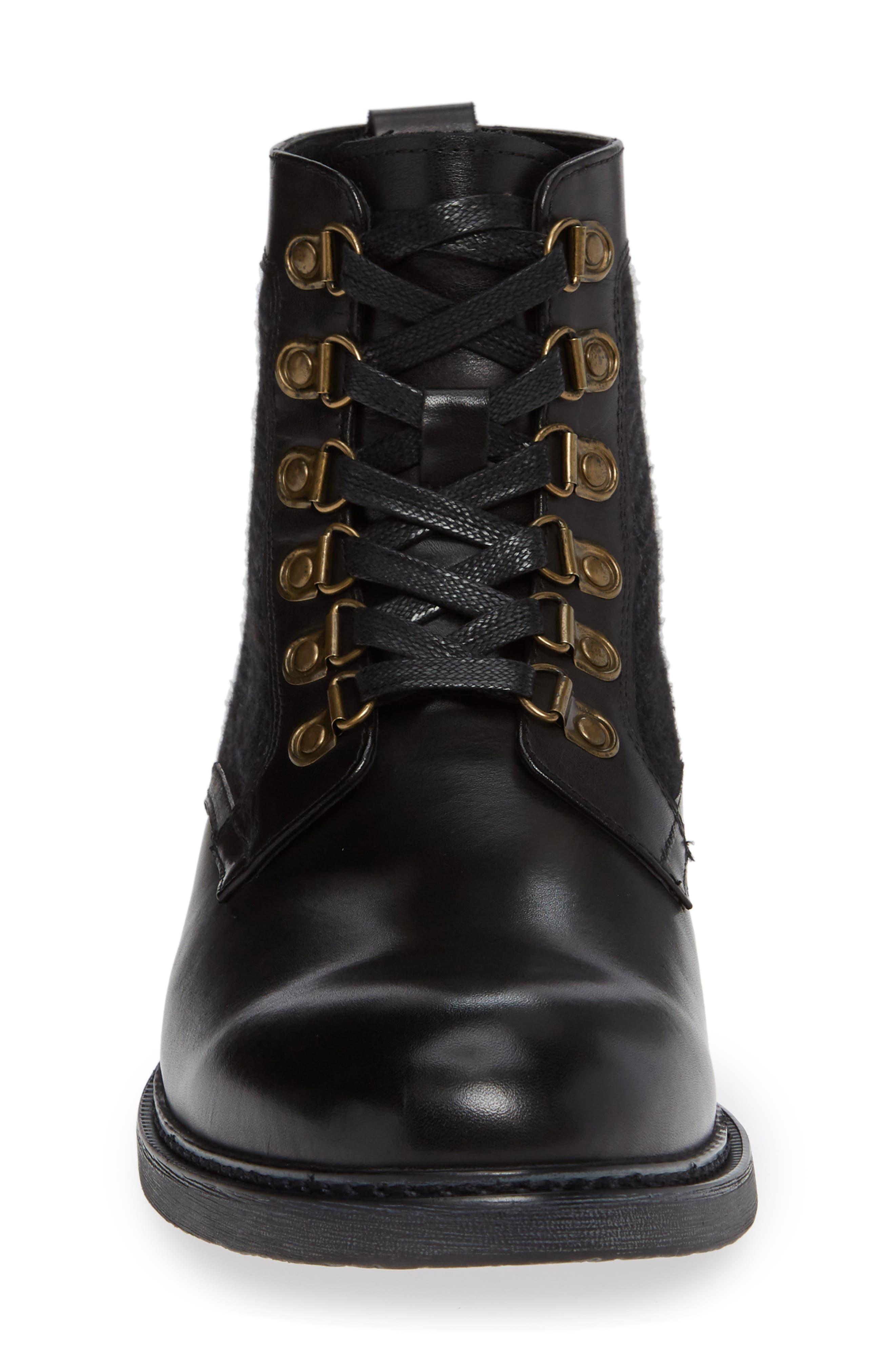 Bradford Textured Suede Boot,                             Alternate thumbnail 4, color,                             BLACK