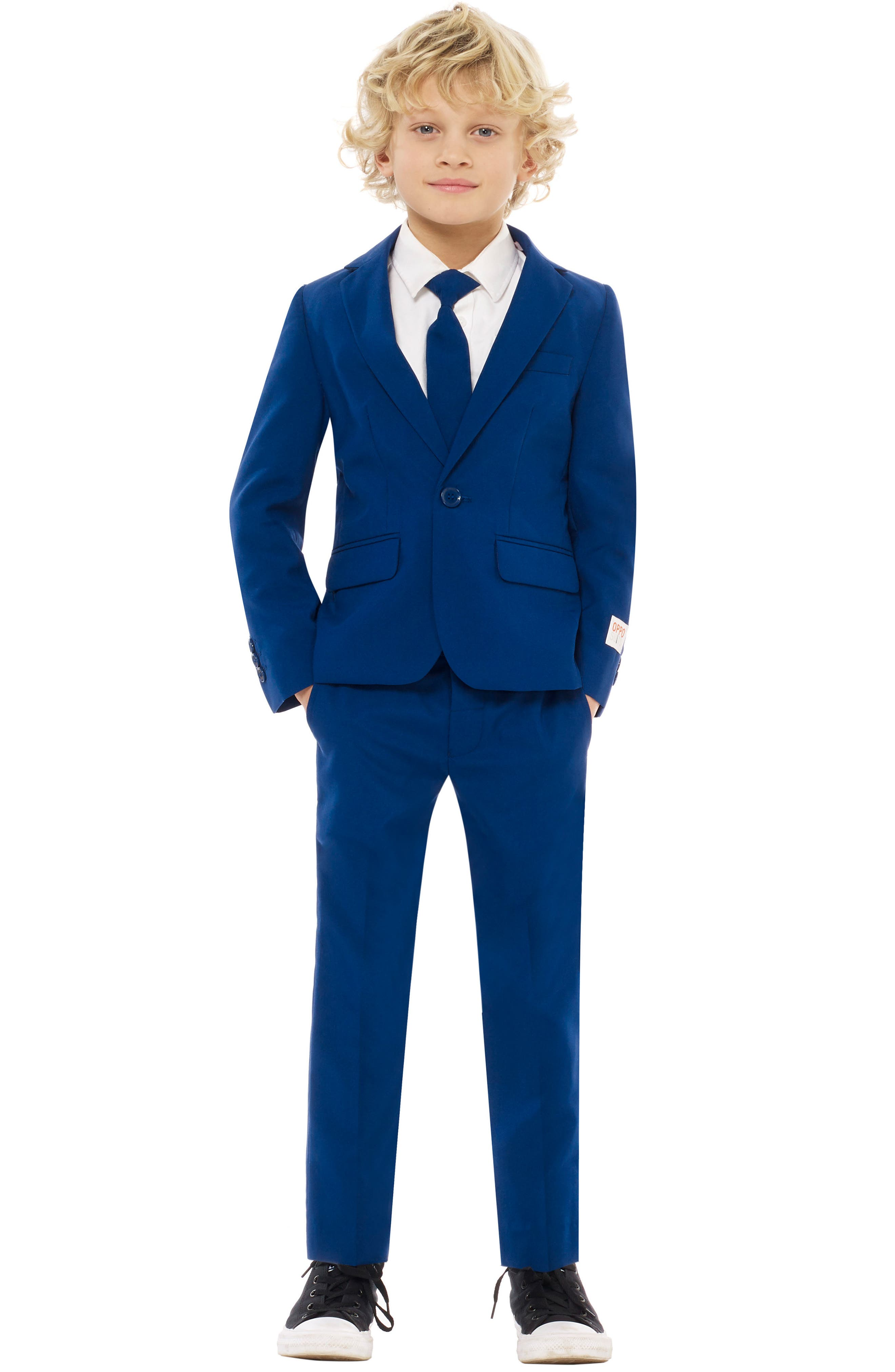Navy Royale Two-Piece Suit with Tie,                         Main,                         color, BLUE
