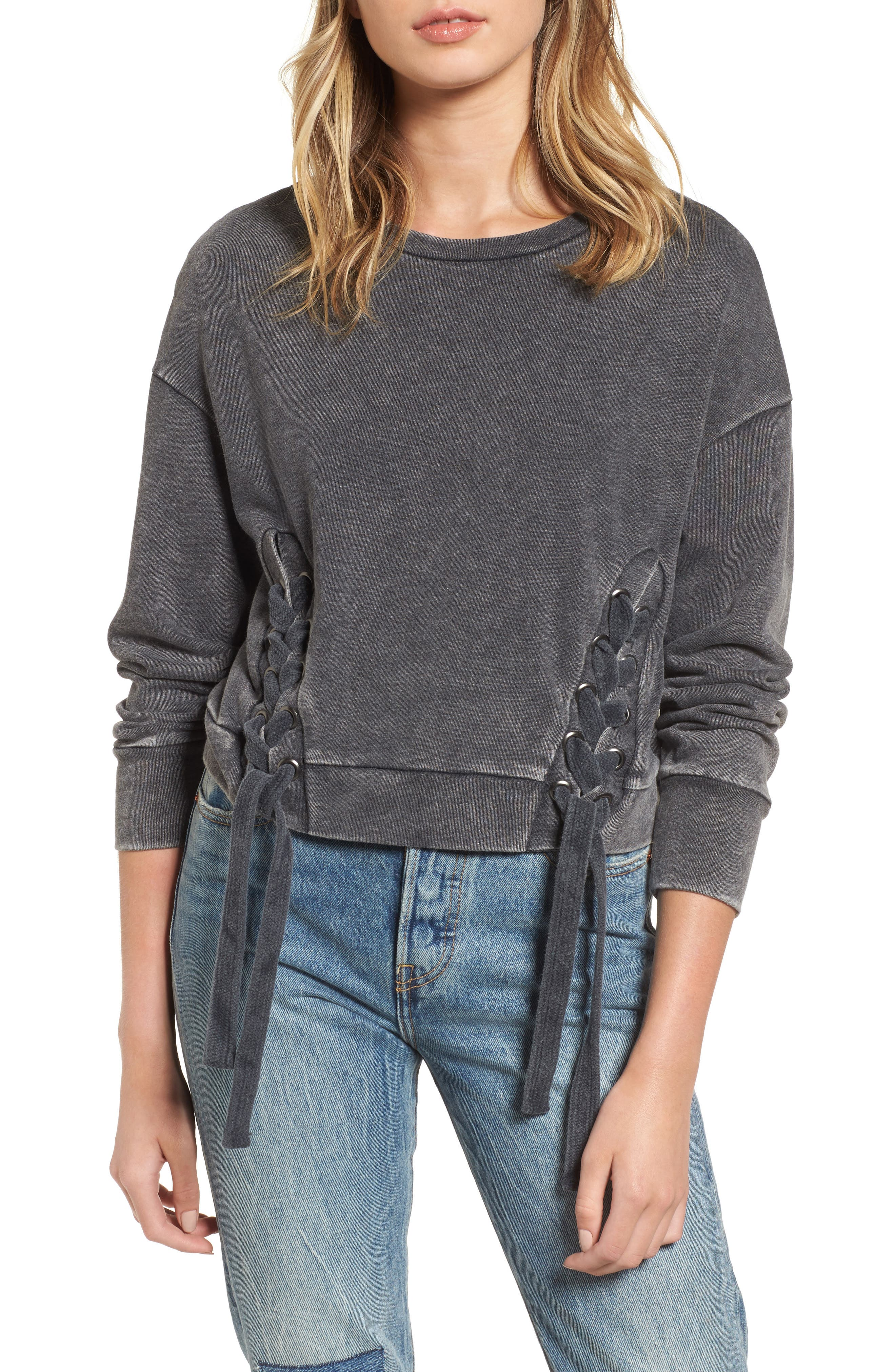 Lace-Up Fleece Pullover,                             Main thumbnail 1, color,                             001