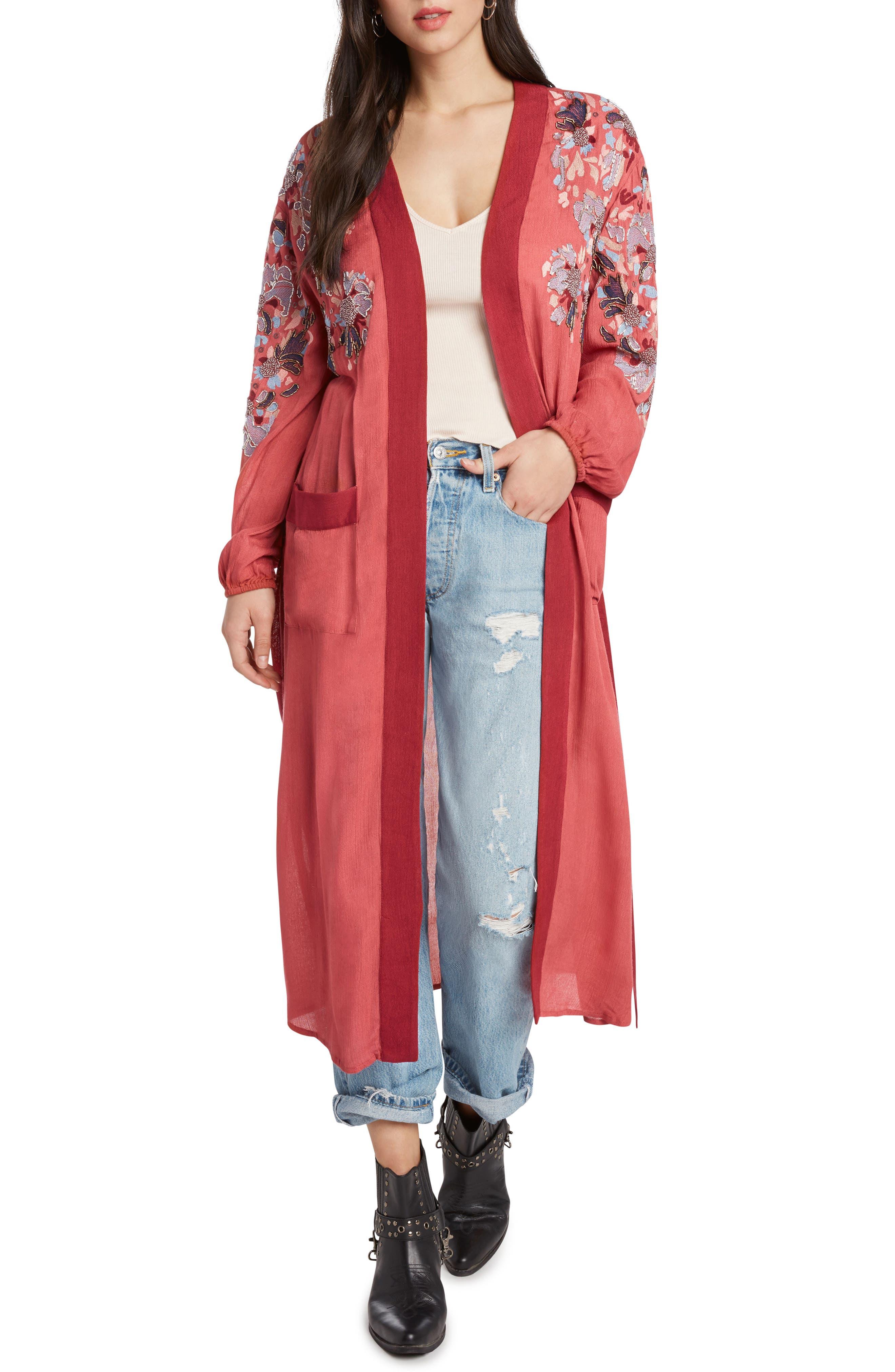 Embroidered Kimono,                             Main thumbnail 1, color,                             ROSE