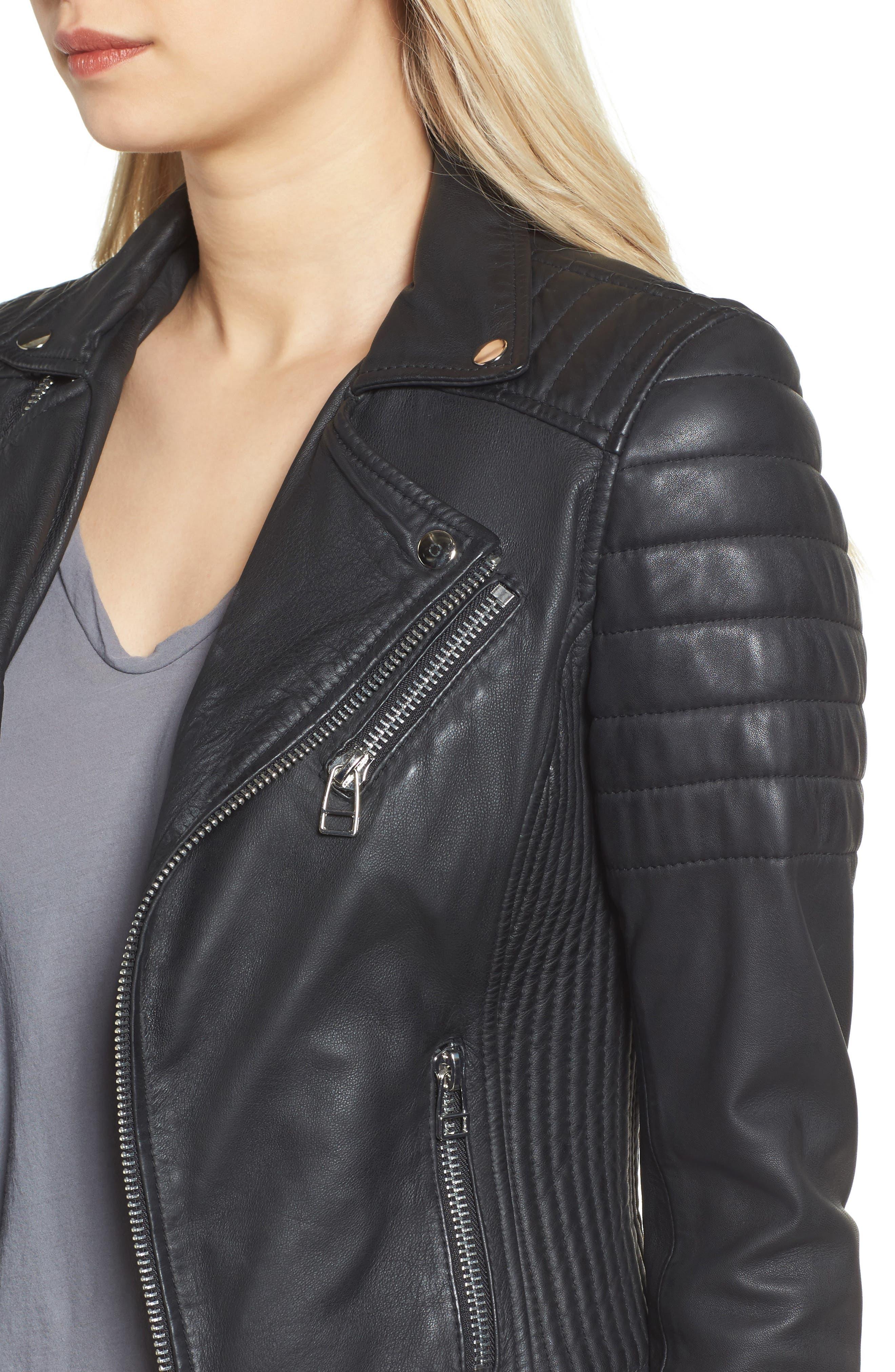 Dual Zip Leather Biker Jacket,                             Alternate thumbnail 4, color,