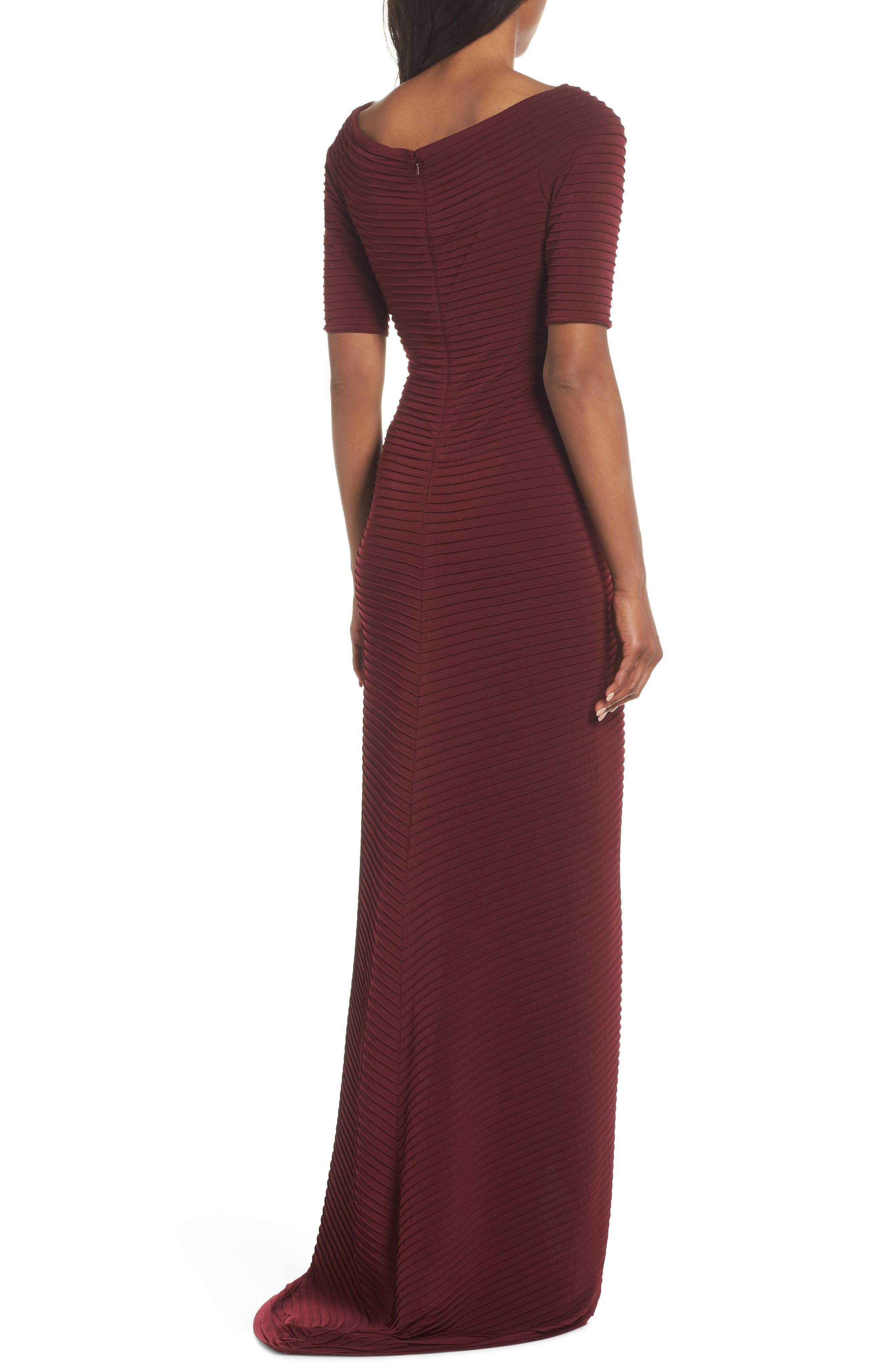 Pintuck Pleat Jersey Gown,                             Alternate thumbnail 2, color,                             WINE