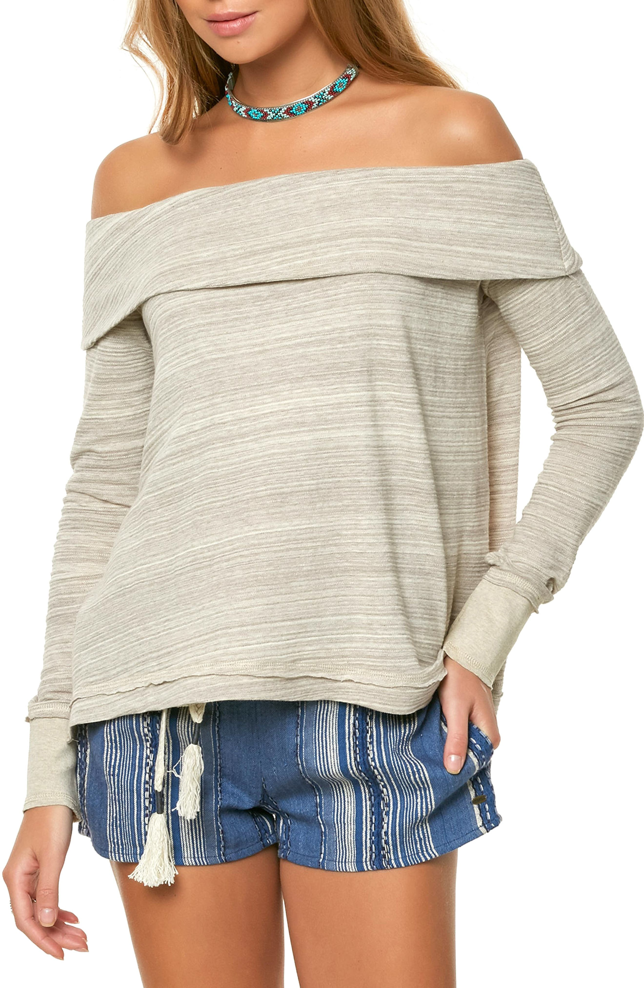 Off the Shoulder Raw Edge Top,                         Main,                         color, 100