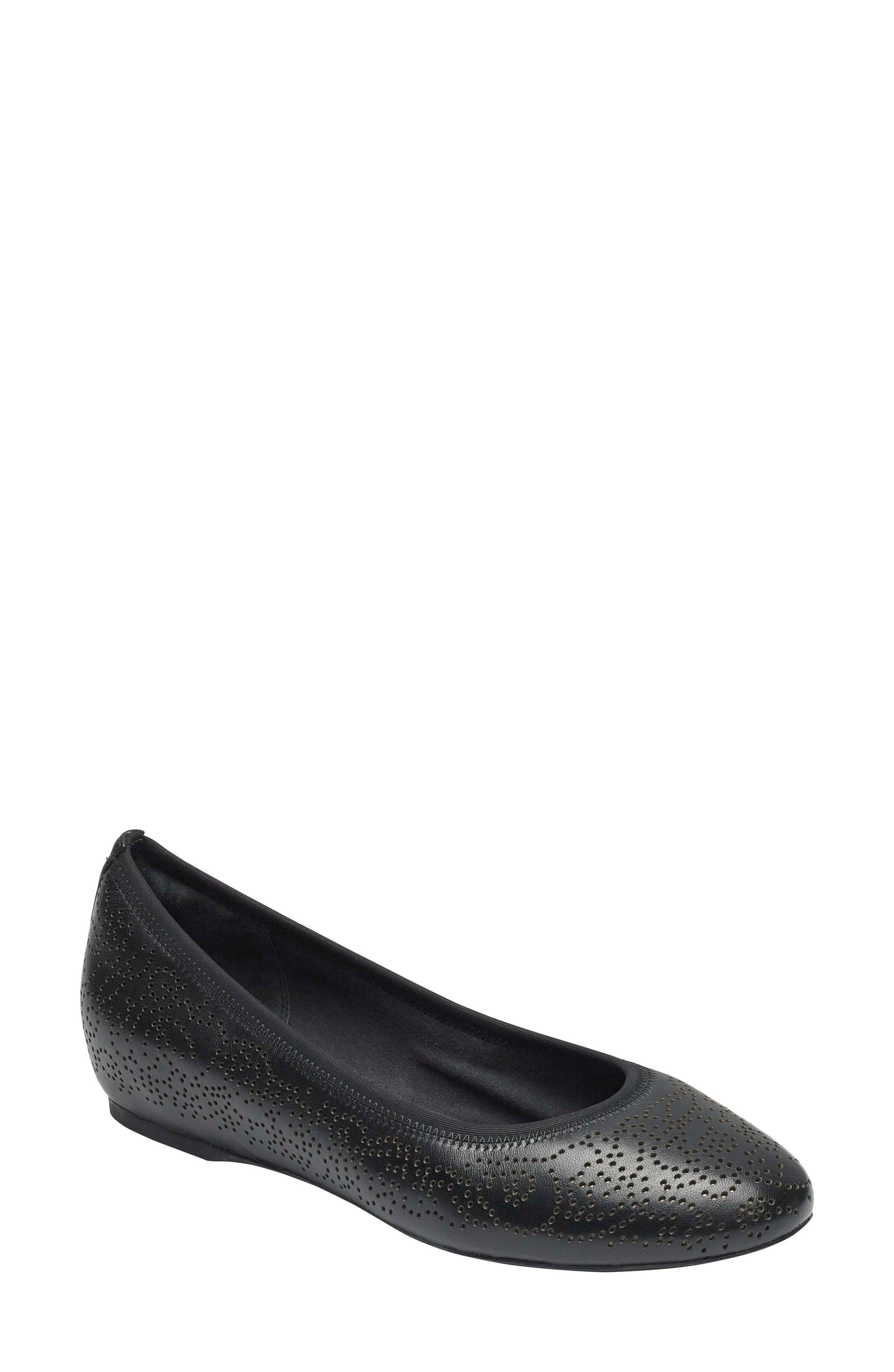 Total Motion Hidden Wedge Flat,                             Main thumbnail 1, color,                             BLACK LEATHER